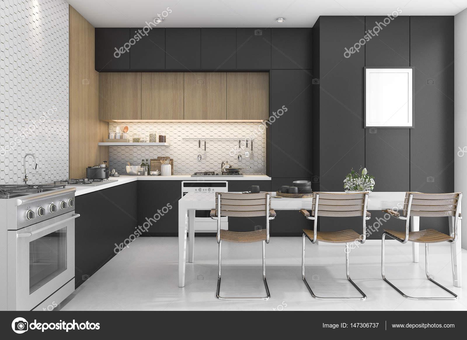cocina 3D de renderizado negro con diseño de madera — Foto ...