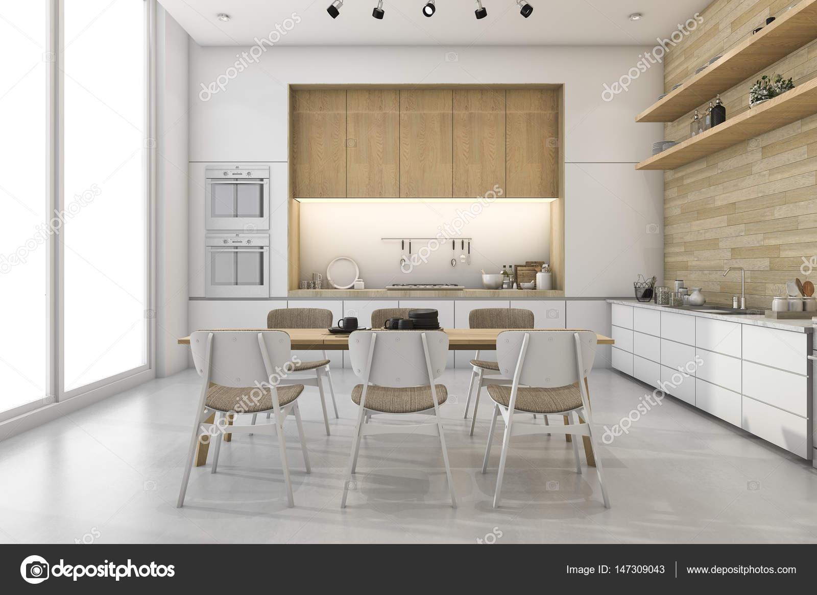 3D Rendering White loft Küche mit schönen Dekor Zone Essen ...
