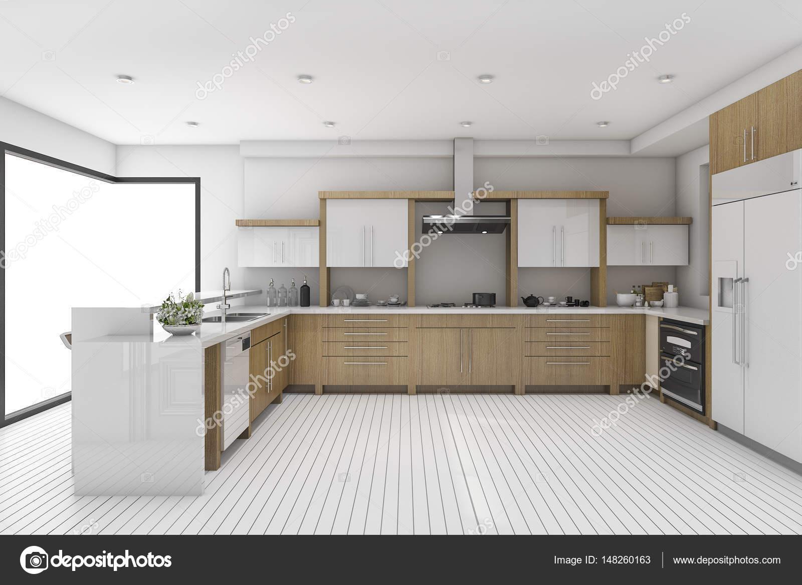 3D representación blanco vintage cocina y comedor — Foto de stock ...