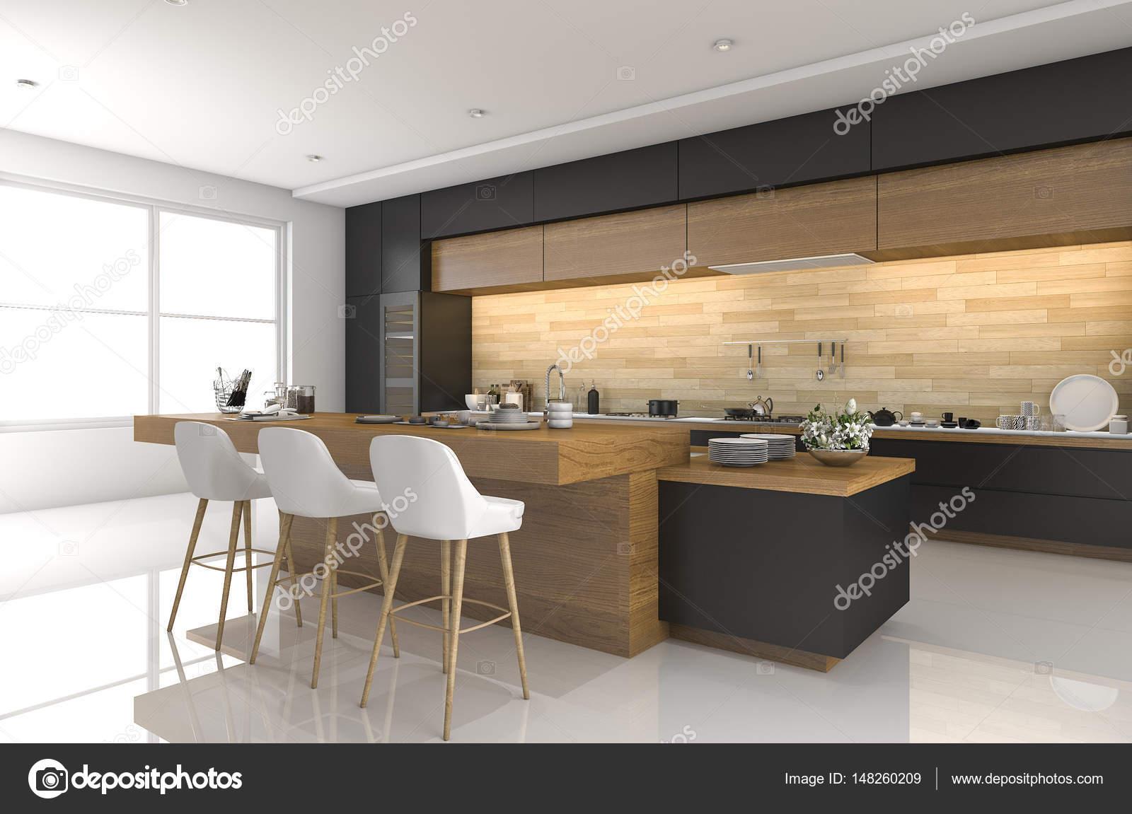 Moderne Zwarte Keuken : 3d rendering moderne zwarte keuken met hout decor u2014 stockfoto