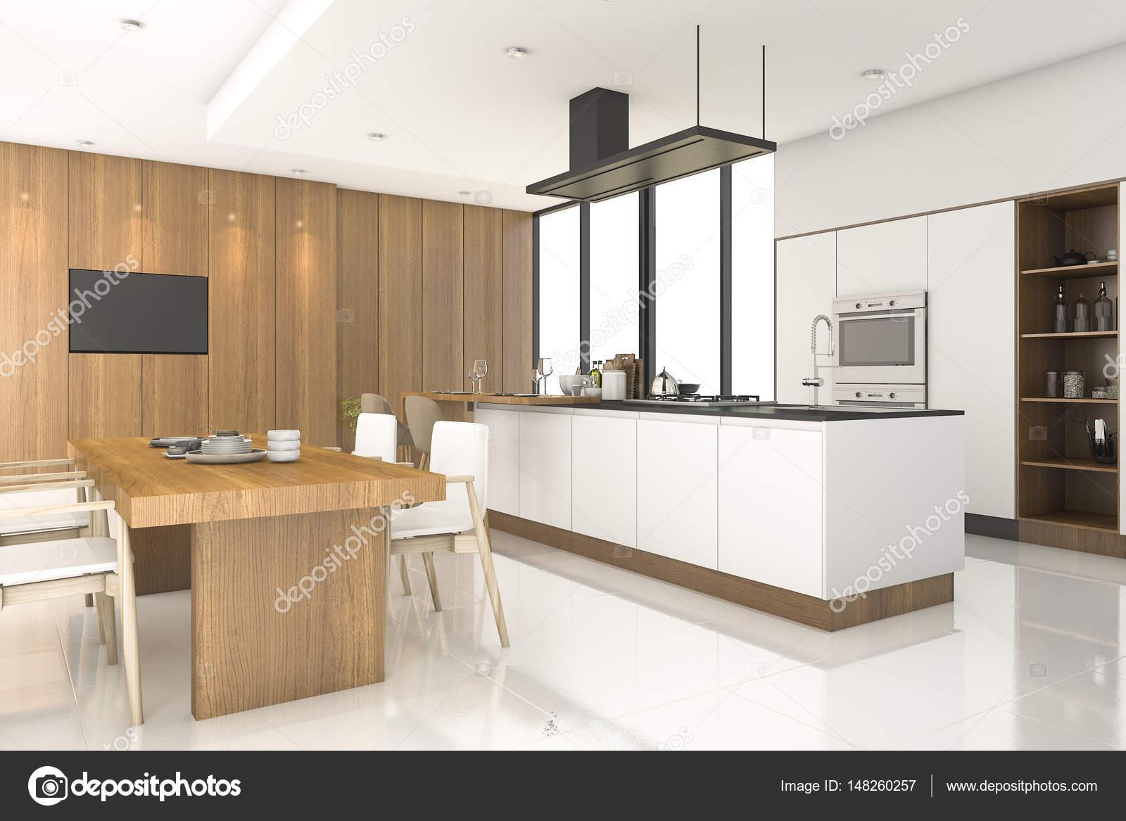 Cucina di legno di rendering 3D con decorazioni in bianco ...