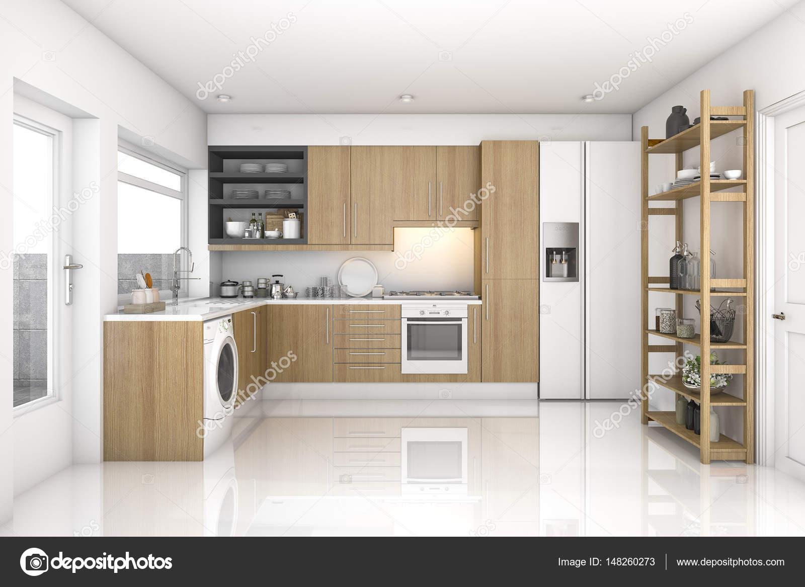 Cozinha E Sala De Madeira Moderna Lavandaria De Renderiza O 3d