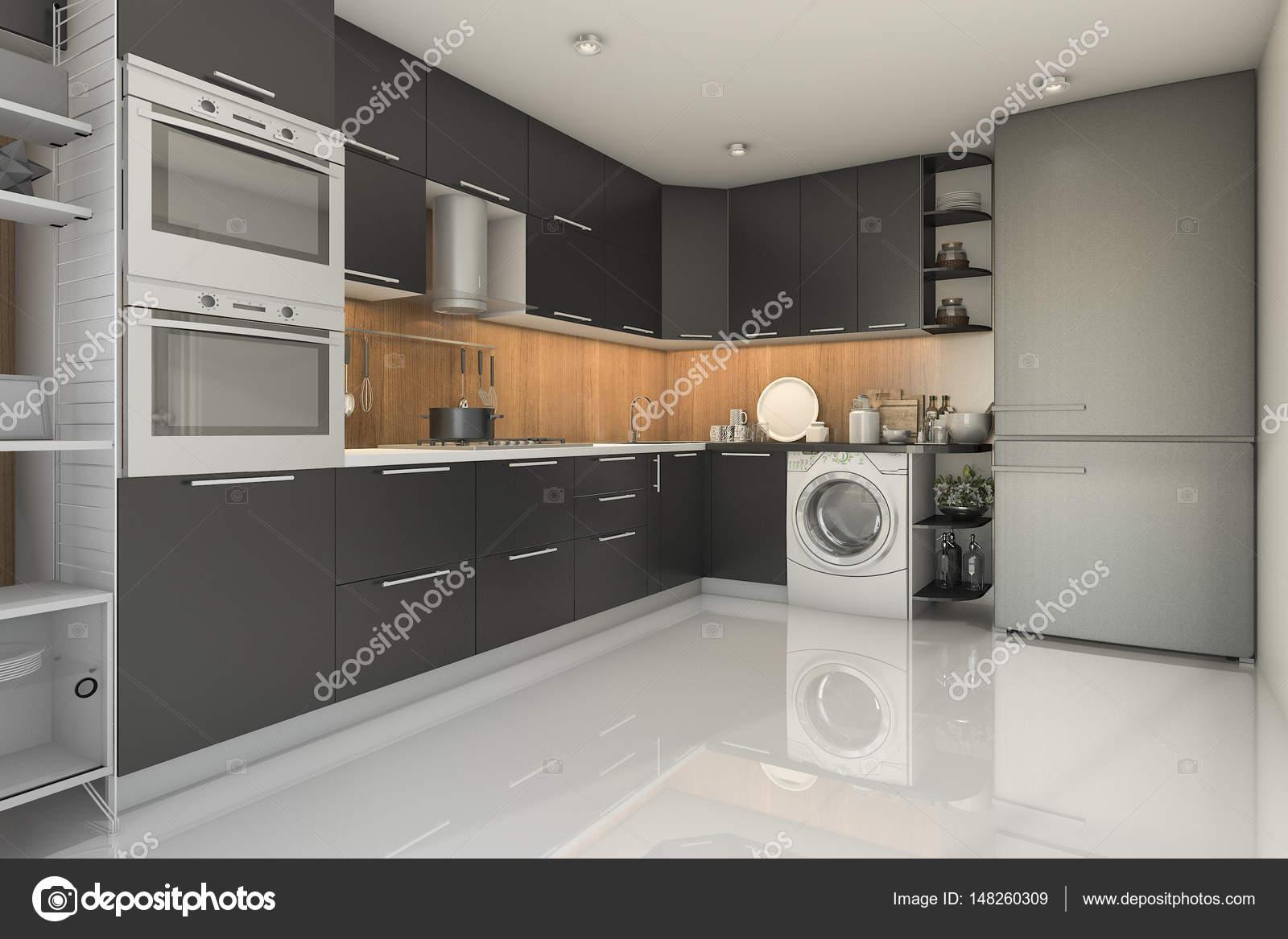 cucina nera moderna di loft 3D rendering con lavatrice — Foto Stock ...