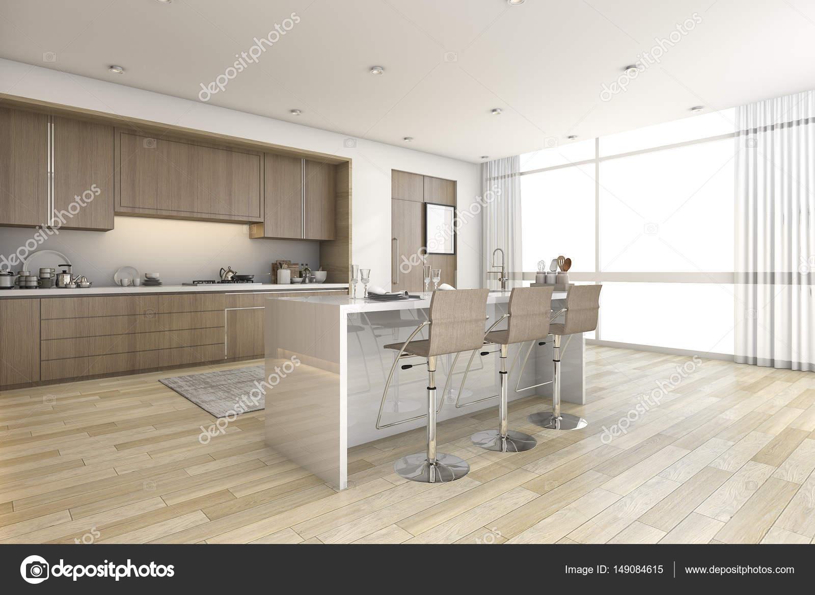 3D Rendering Holz Bar Küche in der Nähe von Fenster — Stockfoto ...
