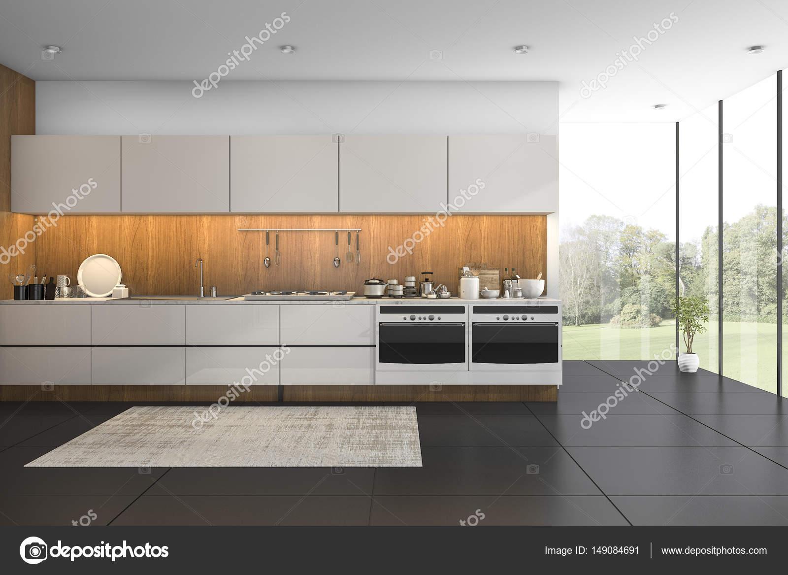 cucina con piastrelle nere in legno vista bel rendering 3D — Foto ...
