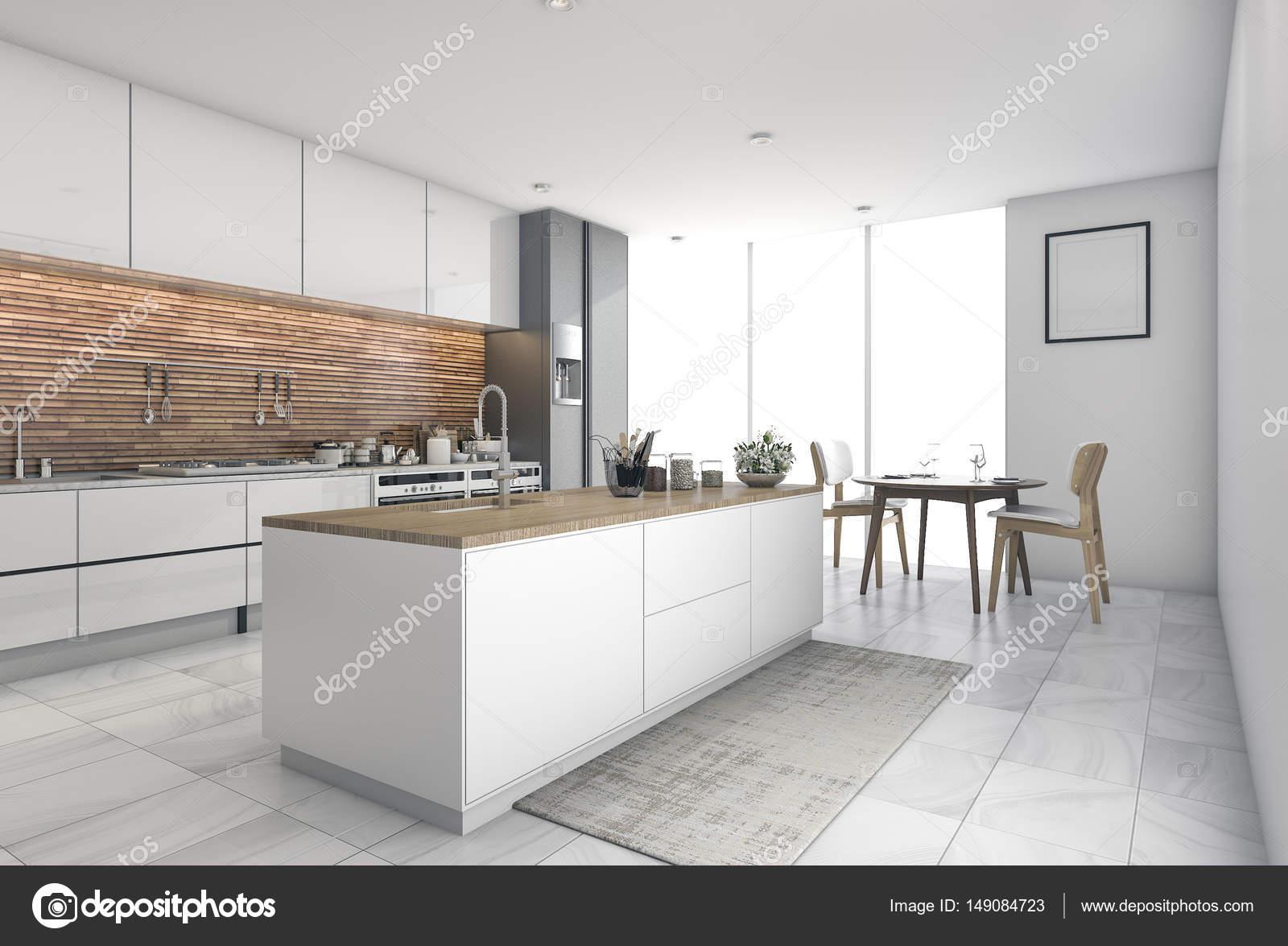 D rendering hedendaagse keukenbar in eetkamer u stockfoto