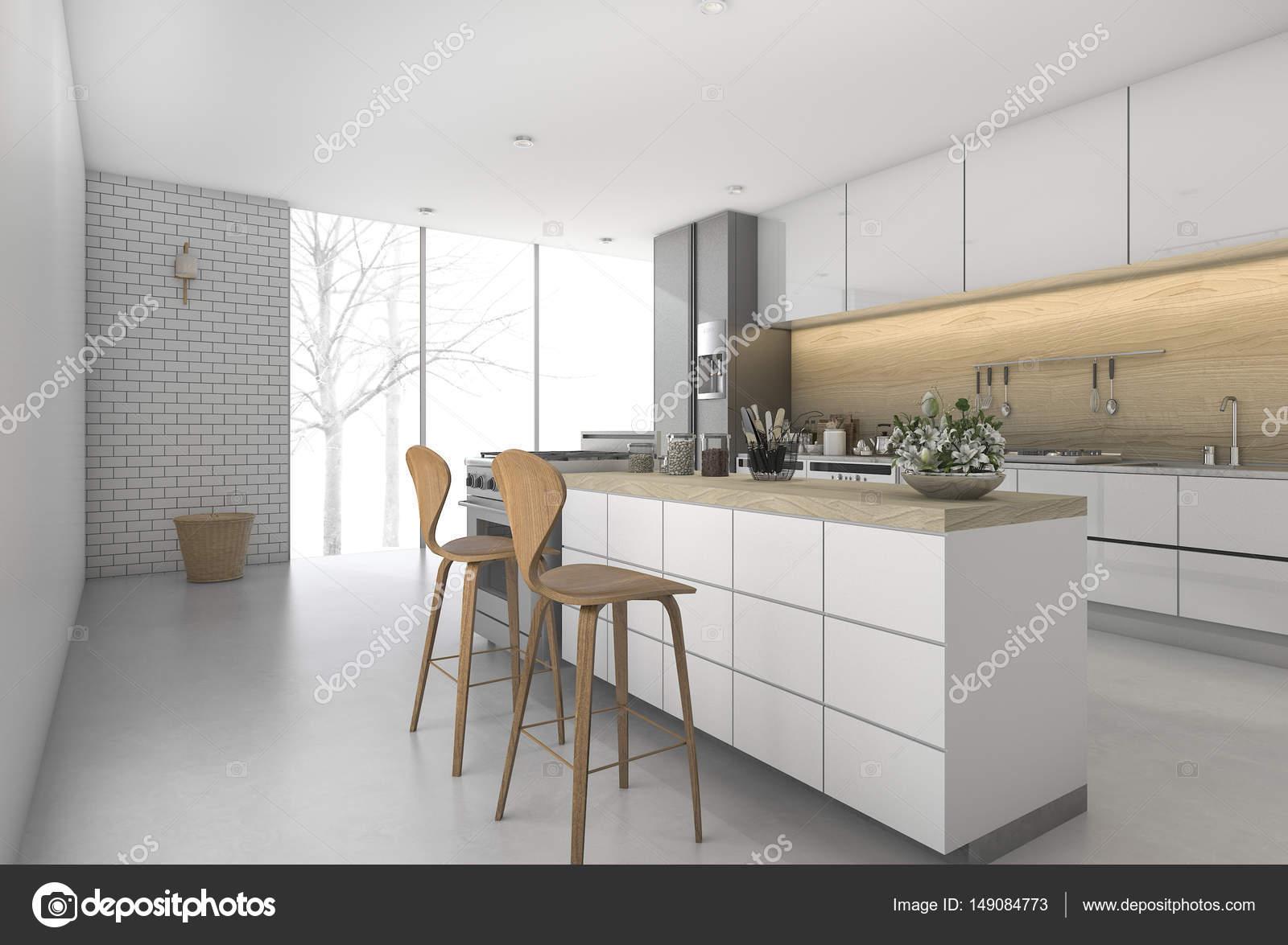 3d rendering minimale keukenbar met eethoek zone u2014 stockfoto