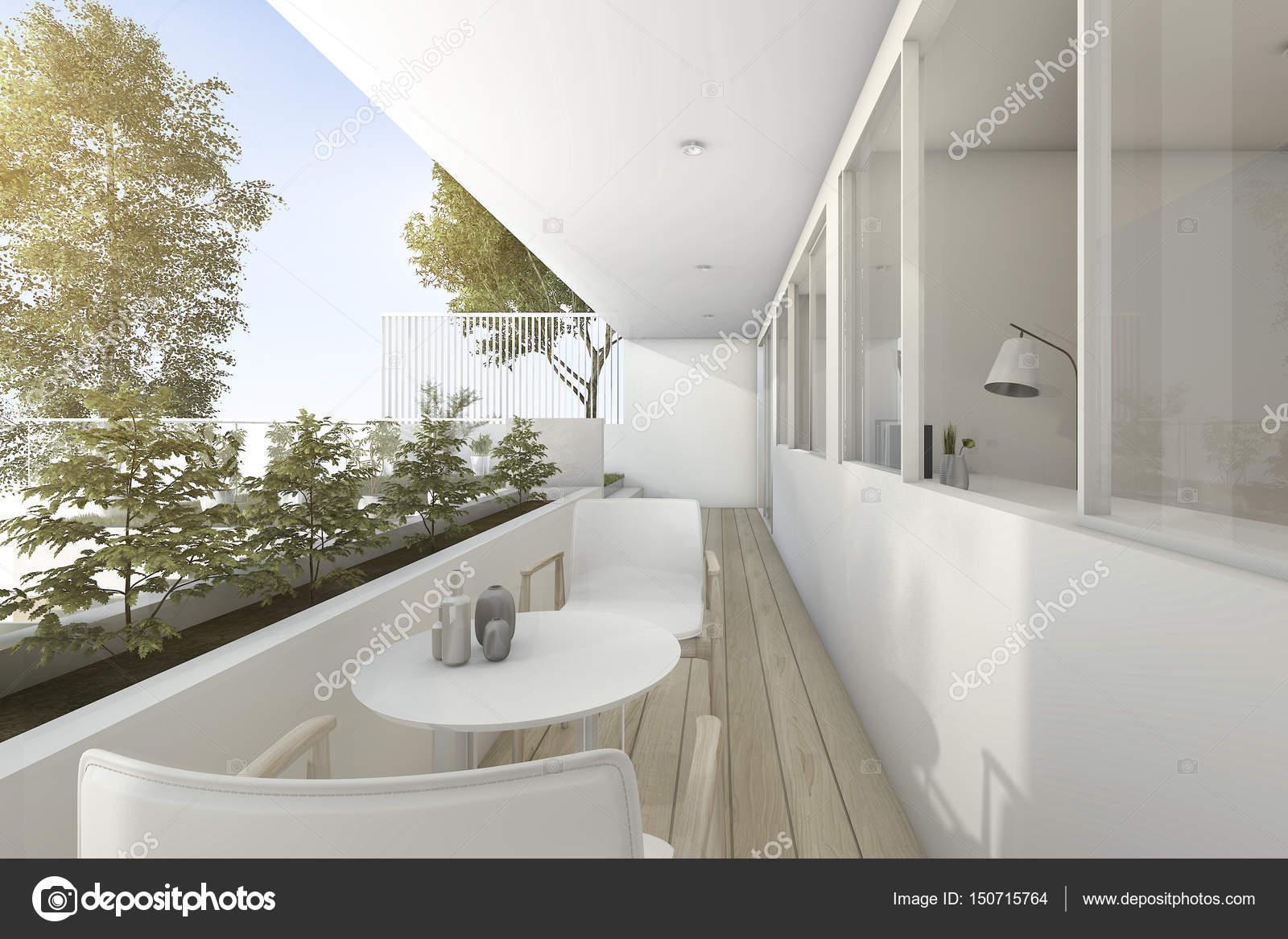 terrazza all\'aperto, 3D rendering vicino giardino con arredamento ...