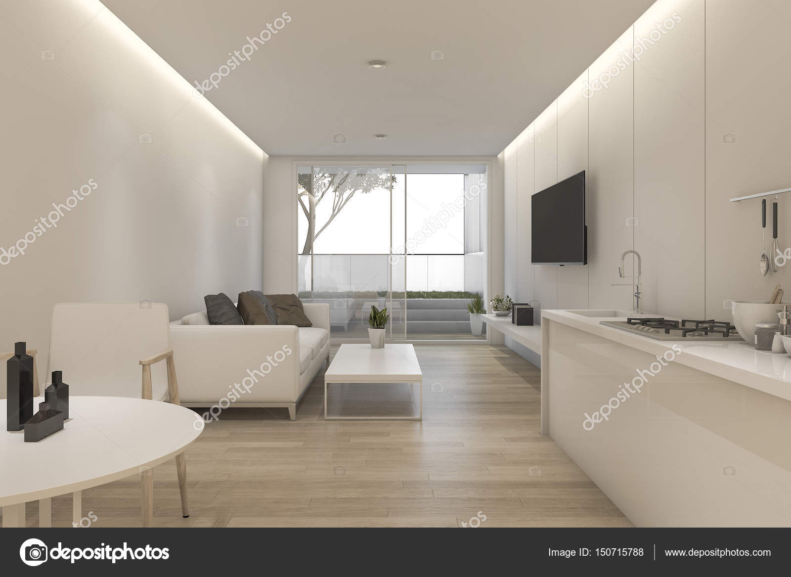 3d rendering minimal white living room and kitchen with ...