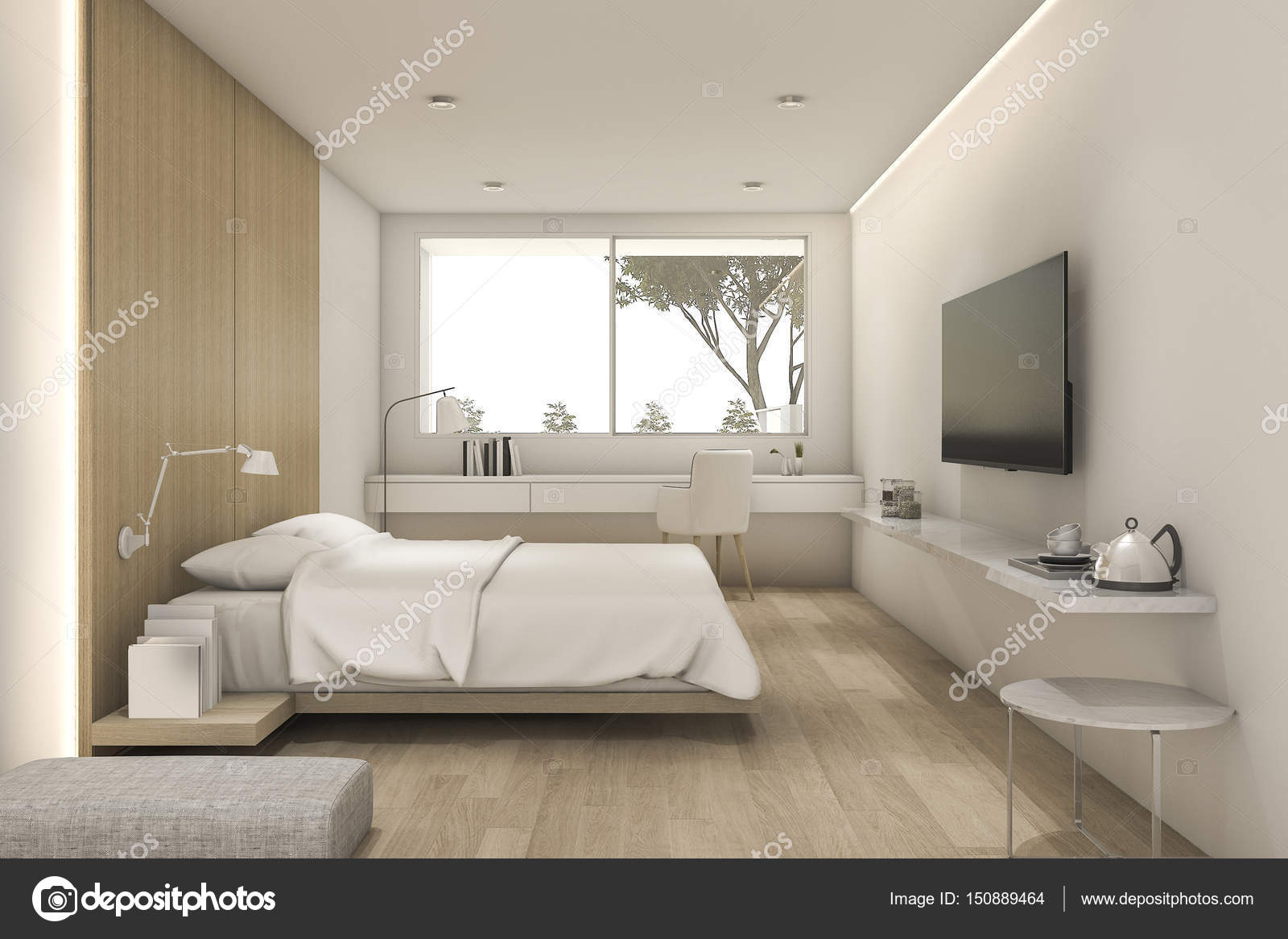 3D rendering bella minimo camera da letto con tv e pouf — Foto Stock ...