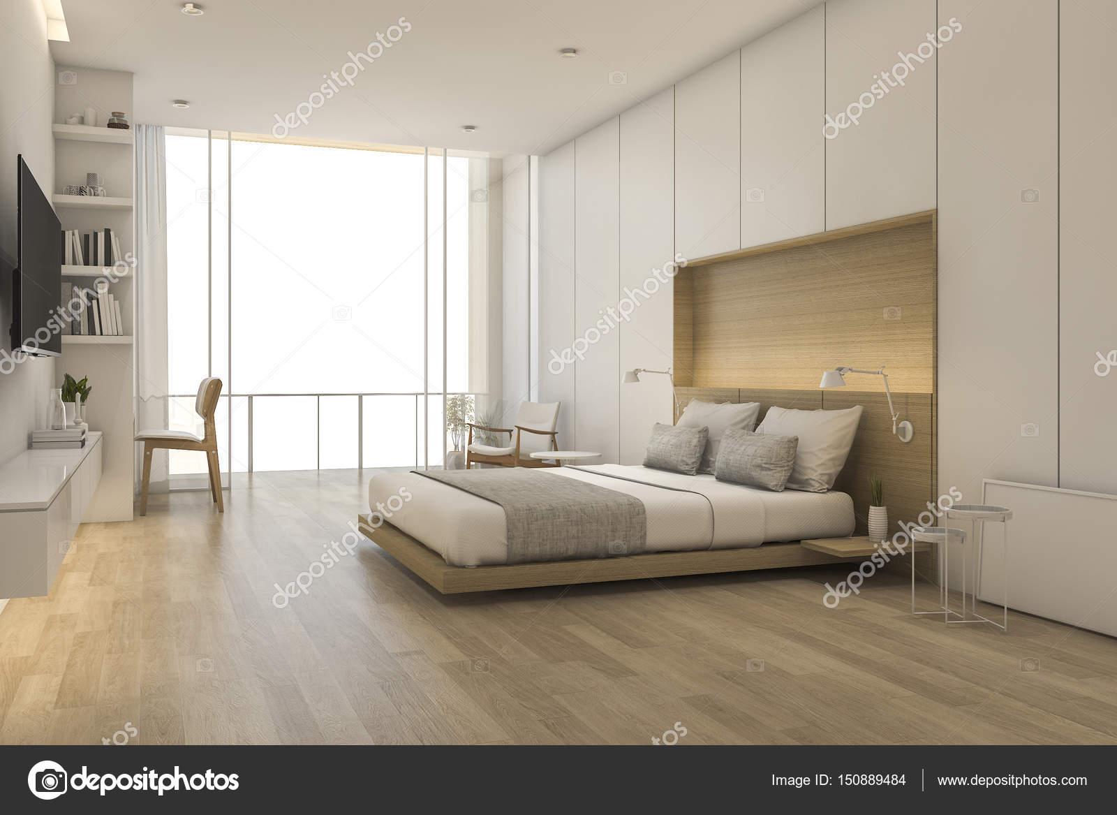 Camera Da Letto Stile Minimalista : Camera da letto in legno stile minimal a rendering d con vista