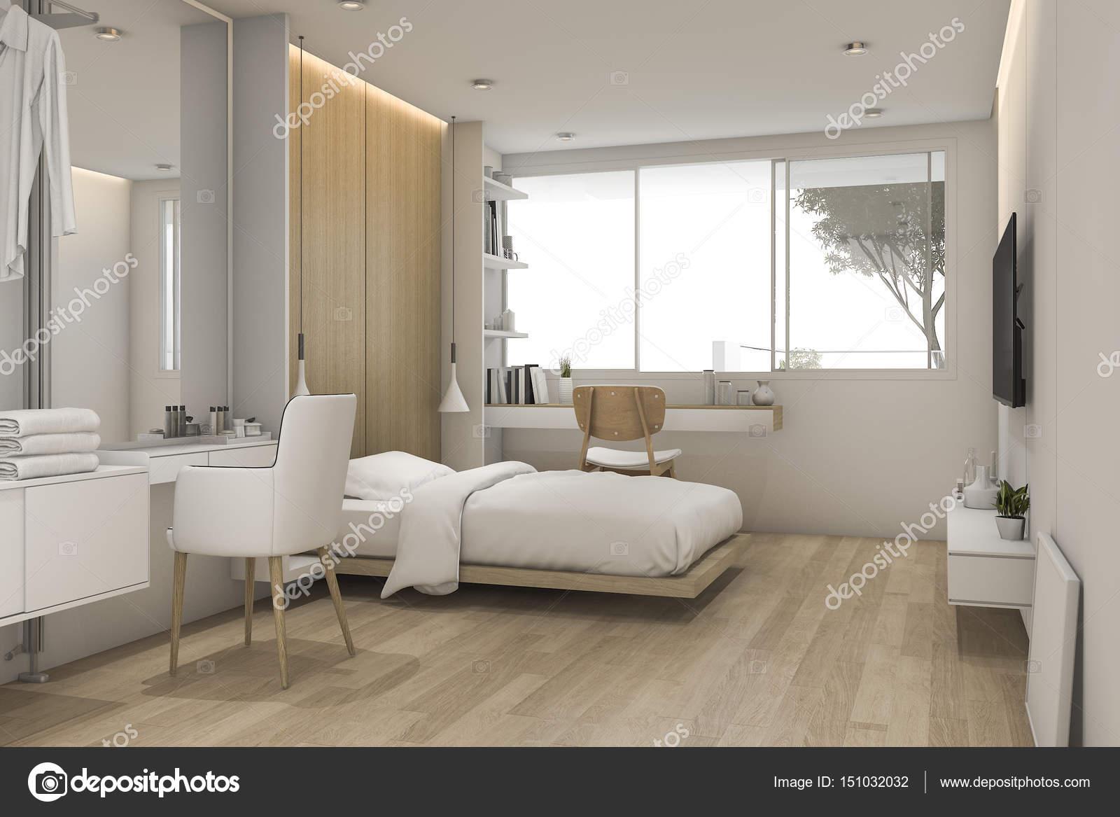 Schlafzimmer Tisch | 3d Rendering Weisse Schlafzimmer Mit Make Up Tisch In Der Nahe Von