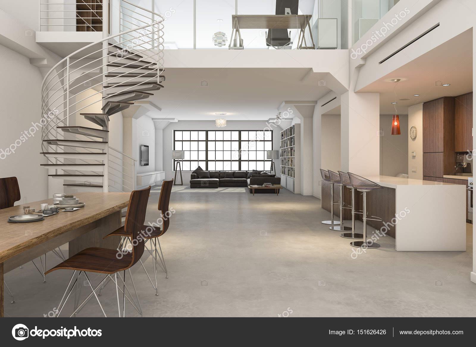 3D Rendering Loft klassisches Interieur der Küche Essen und Leben ...