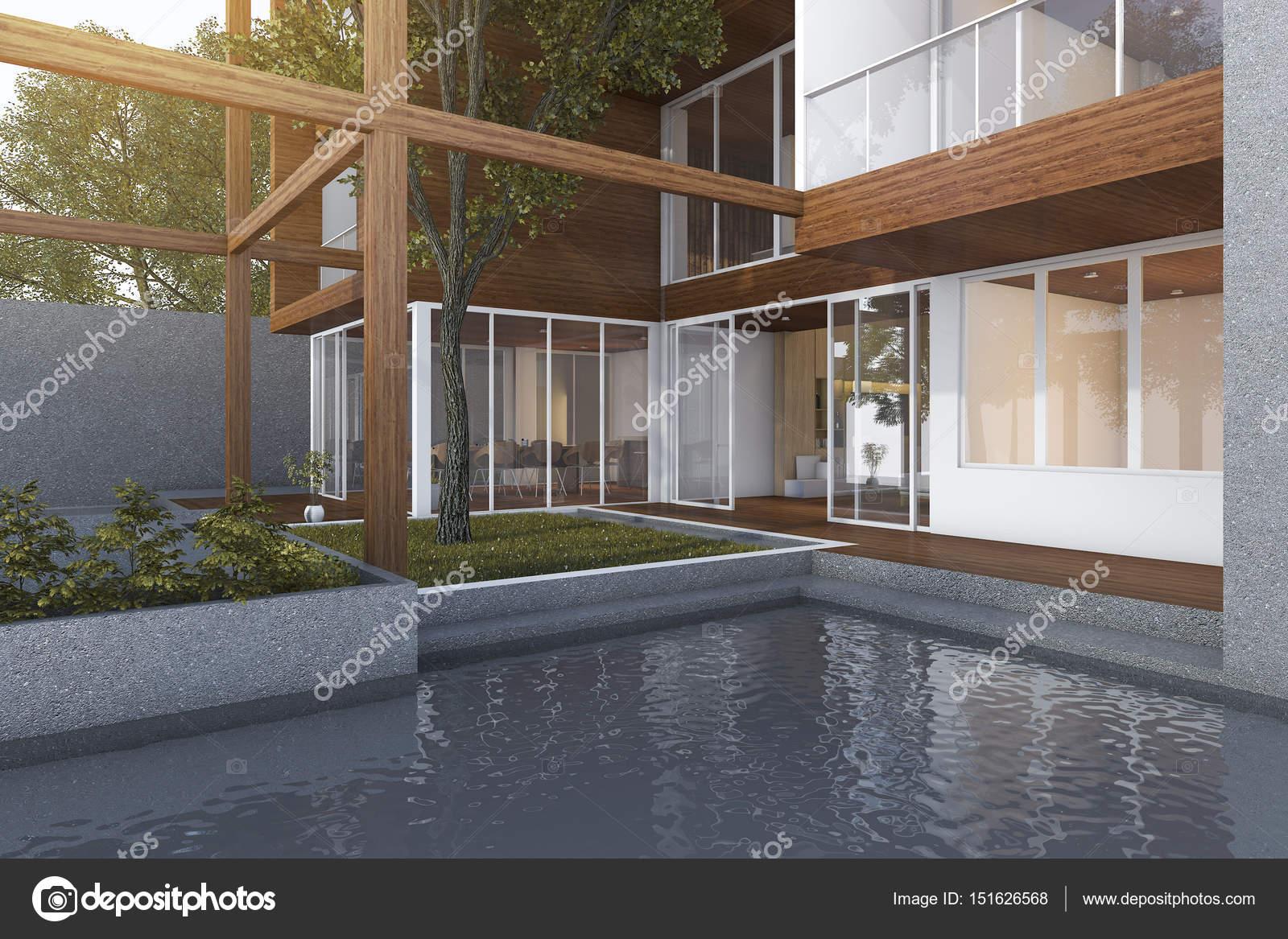 Pool design holz  3D Rendering-outdoor-Pool in der Nähe von Holz moderne Gebäude ...