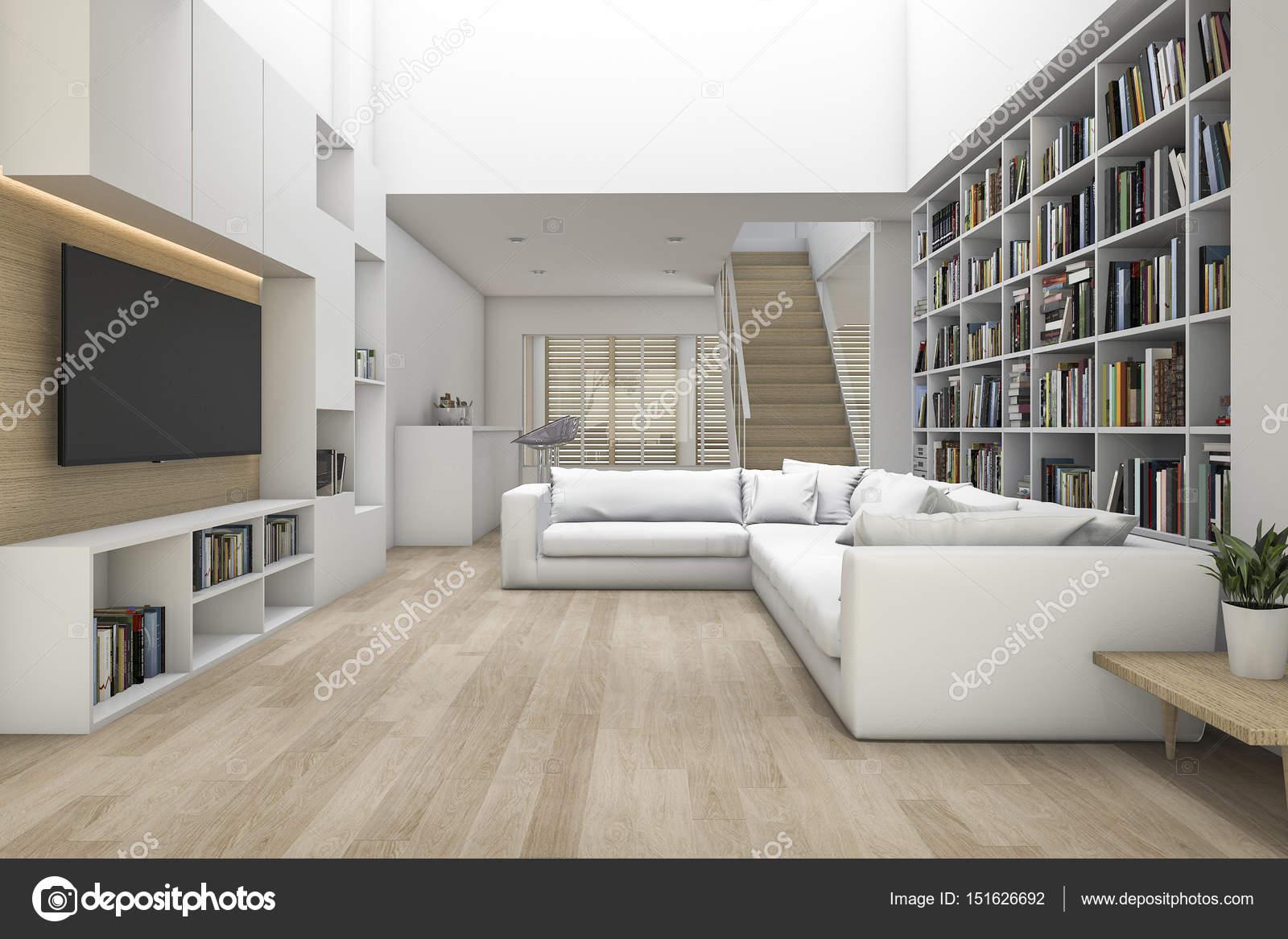 3d rendering soggiorno con divano e tv e libreria con qualche libro foto stock dit26978 - Soggiorno con divano ...