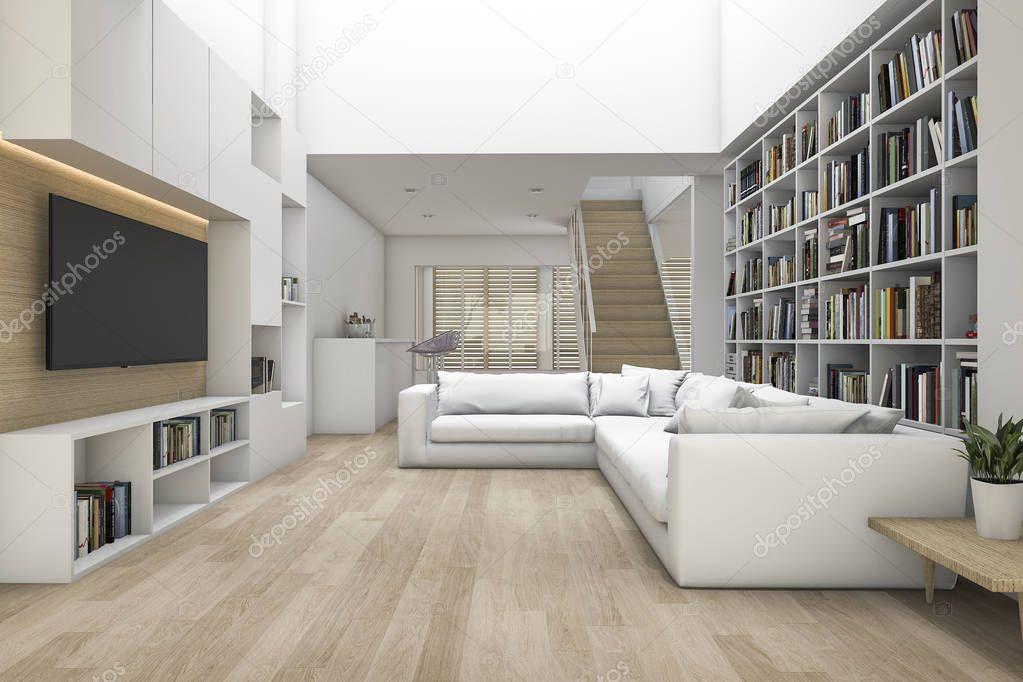 3d rendering soggiorno con divano e tv e libreria con for Salotto con libreria