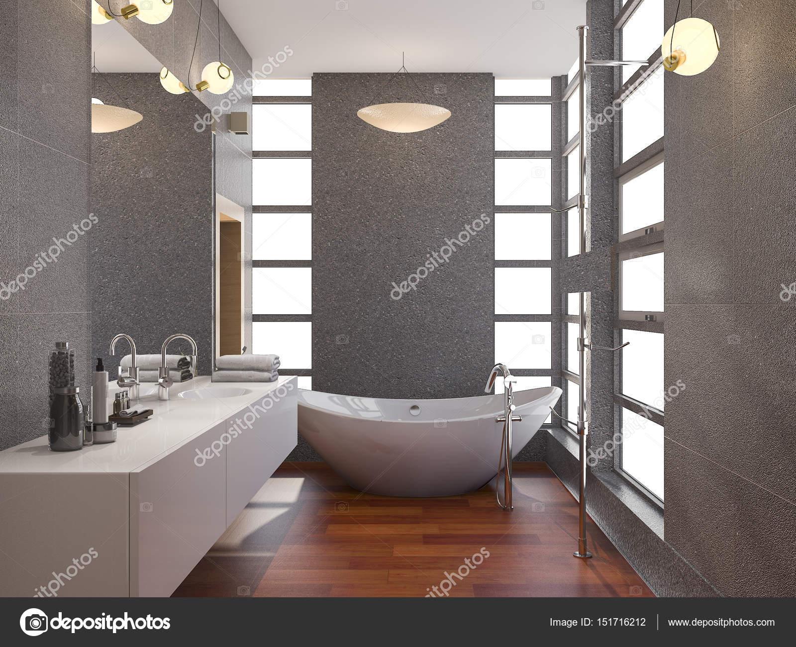 3D rendu bois moderne salle de bain avec fenêtre et mur de carreaux ...