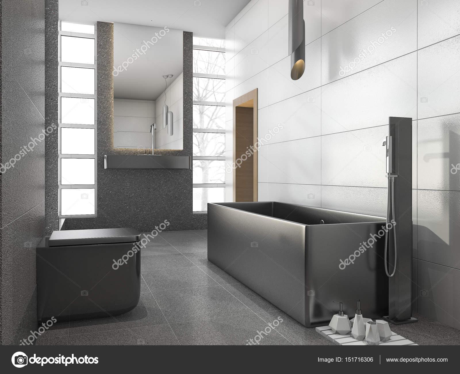 Stanza da bagno in metallo inox da d rendering grigio con
