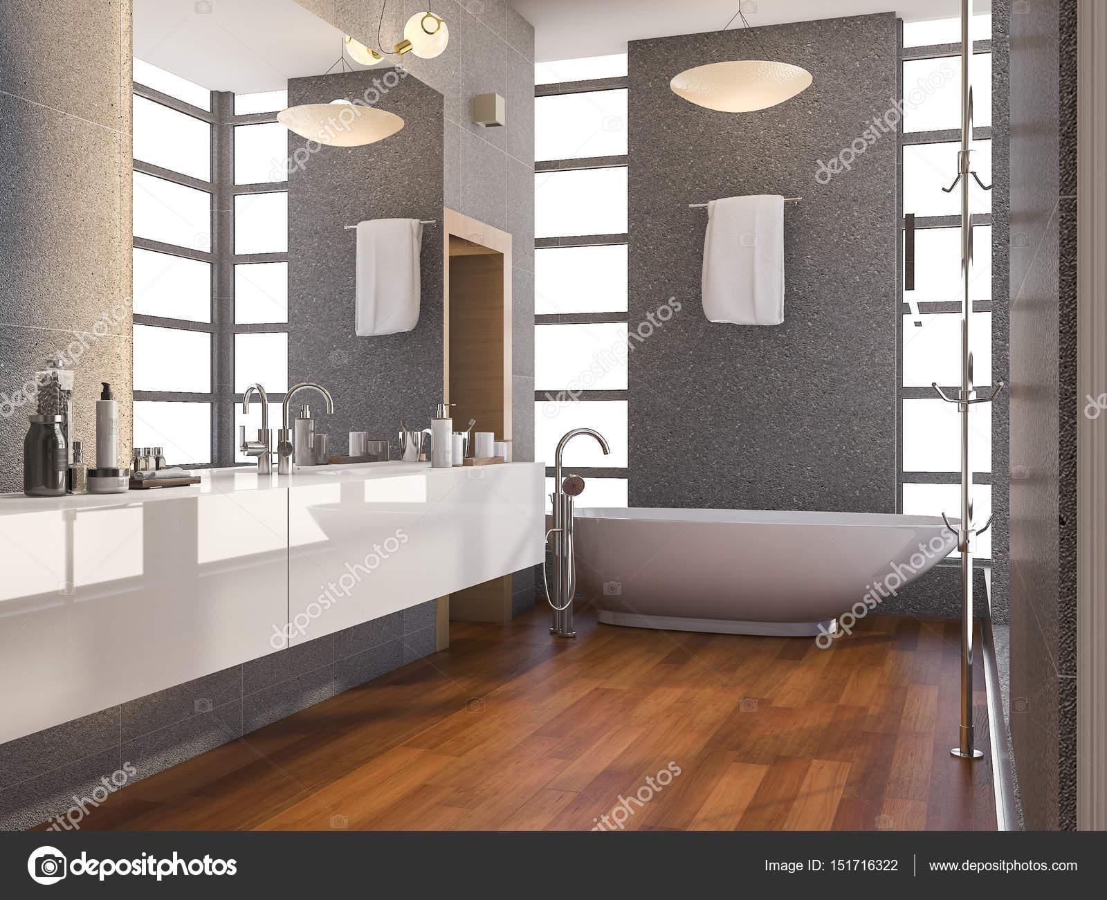 Badkamer Hout Natuursteen : D rendering hout moderne badkamer met venster en natuursteen
