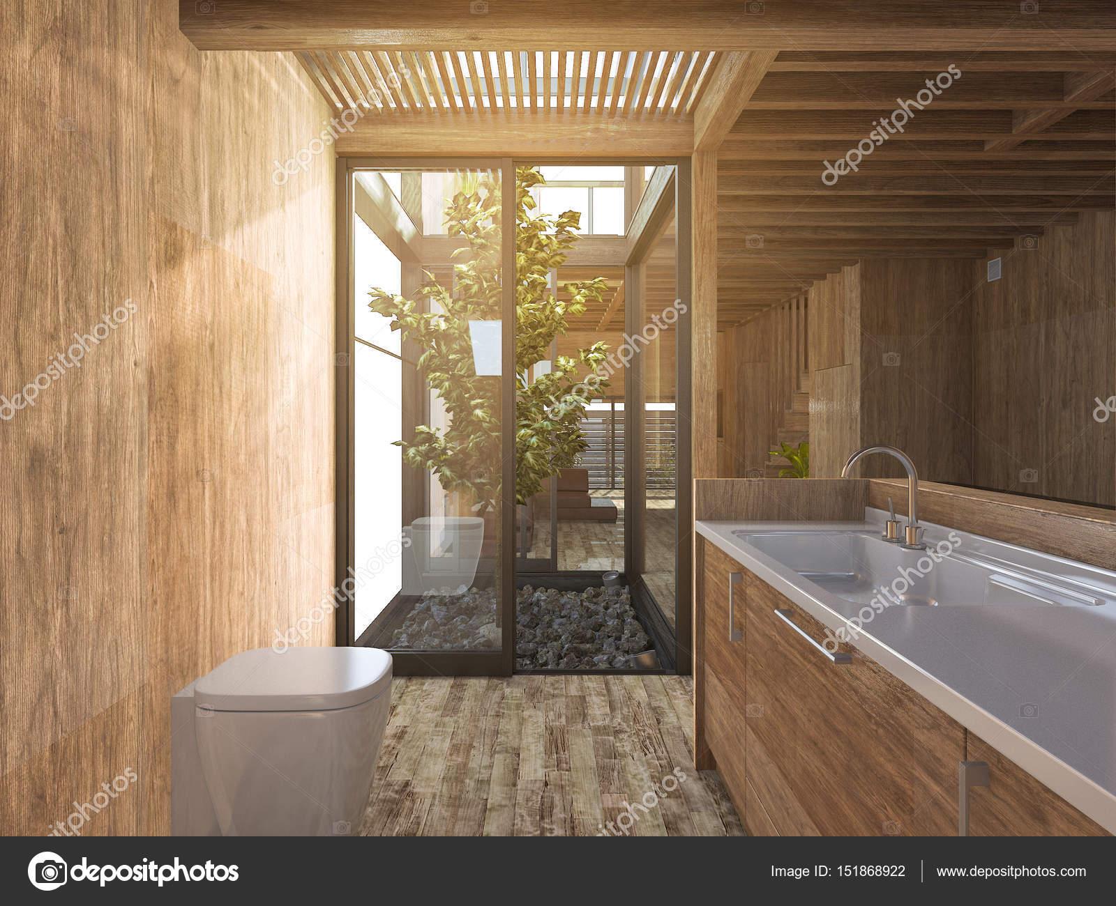 D rendering hout badkamer in de buurt van japanse zen rotstuin in