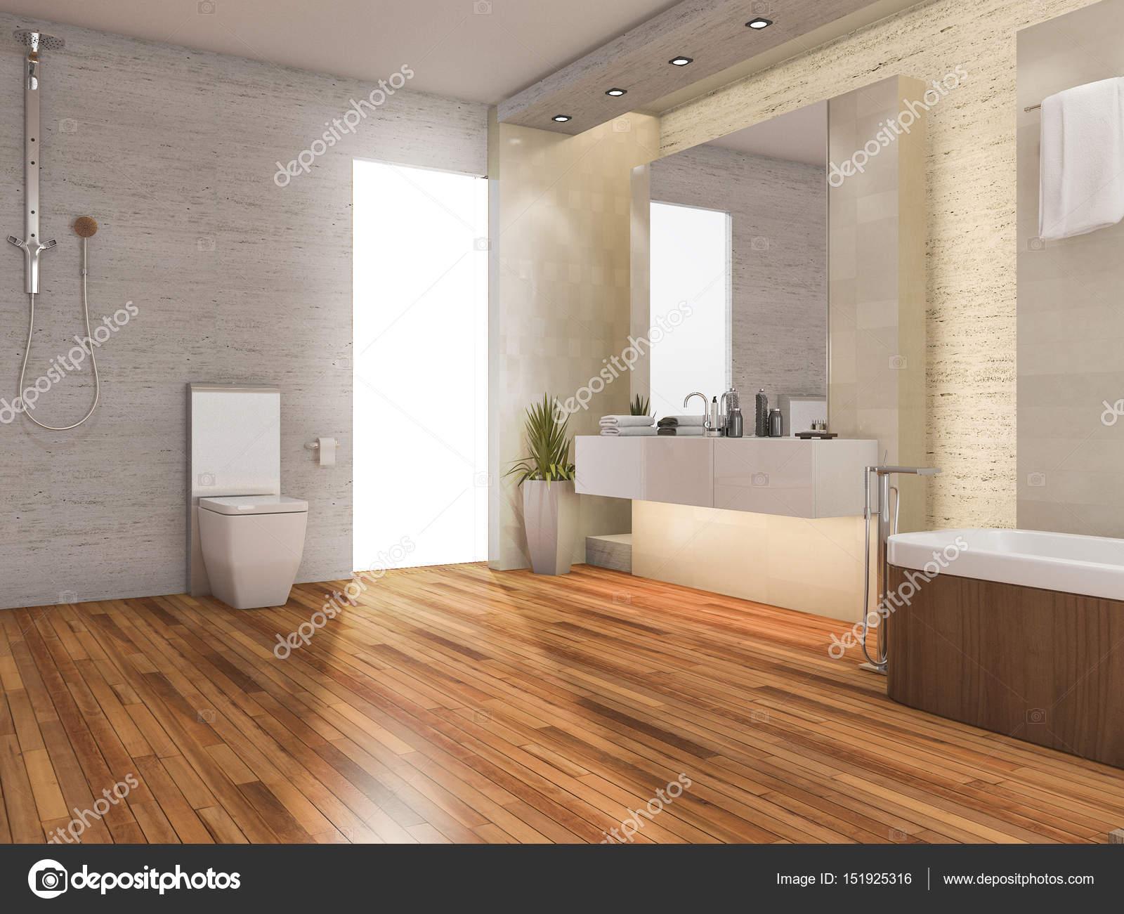 D rendering hout lichte badkamer met moderne inrichting