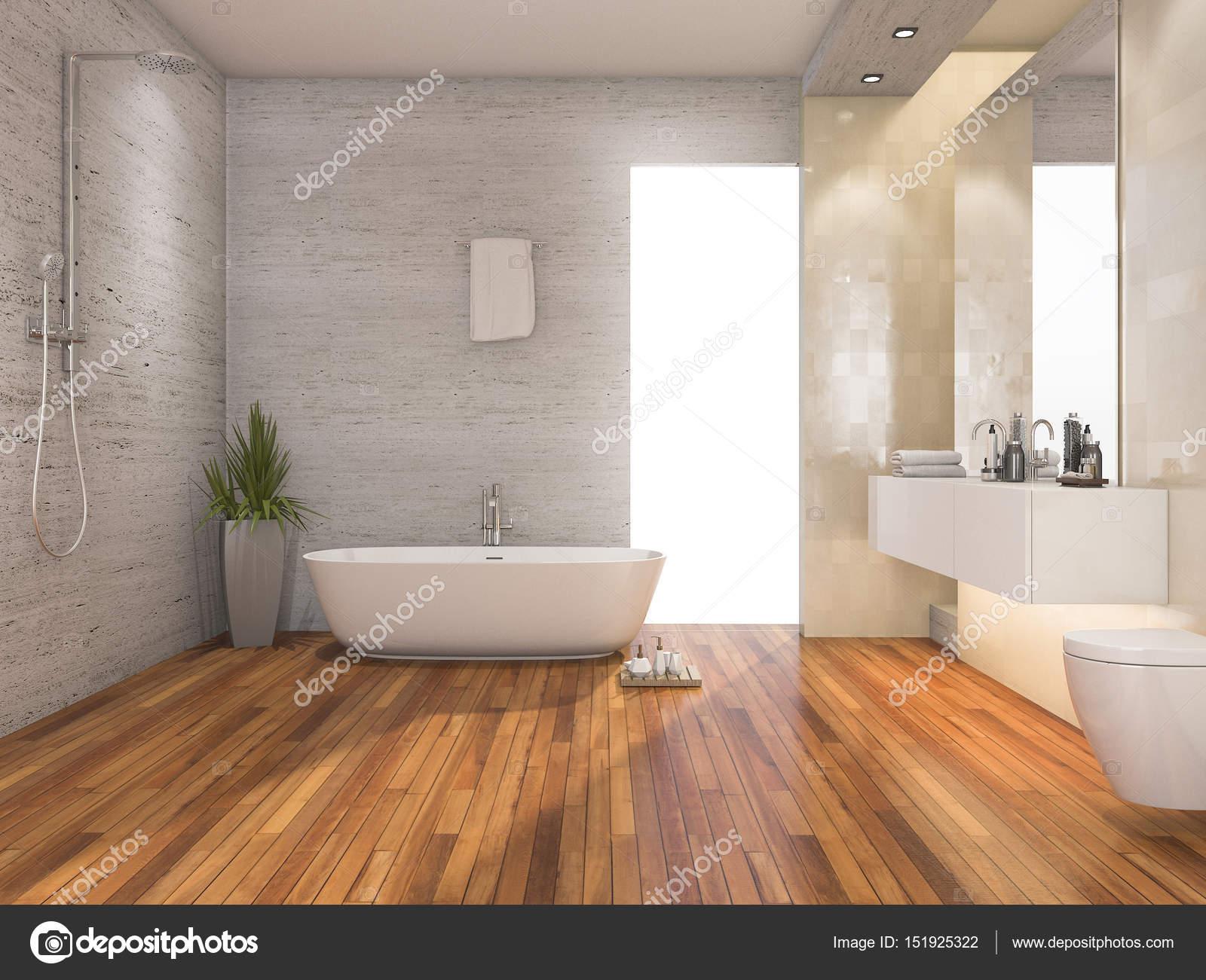 3d Rendering Holz Helles Bad Und Dusche Mit Modernem Dekor