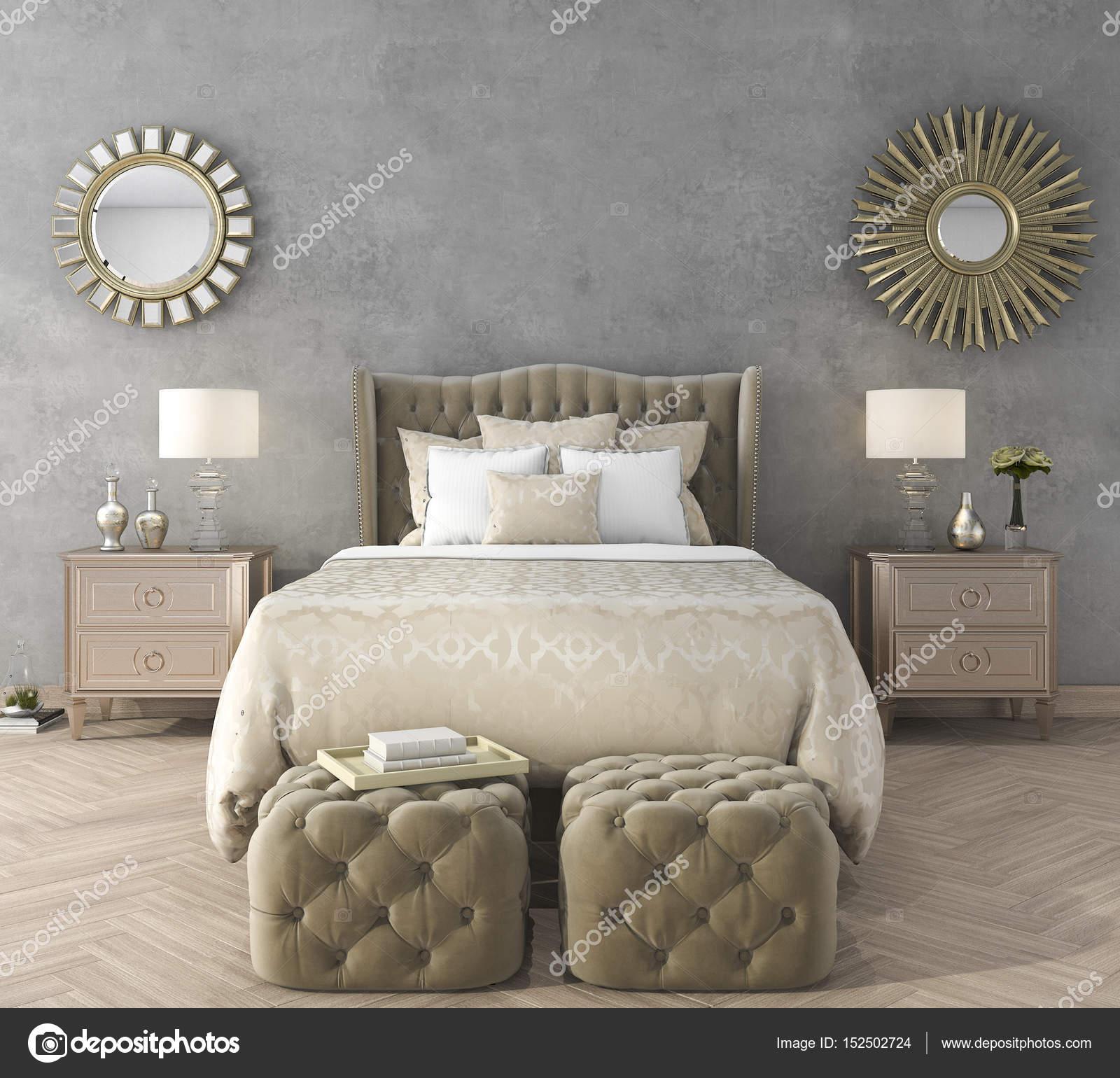 camera da letto classica di lusso di rendering 3D con pouf e ...