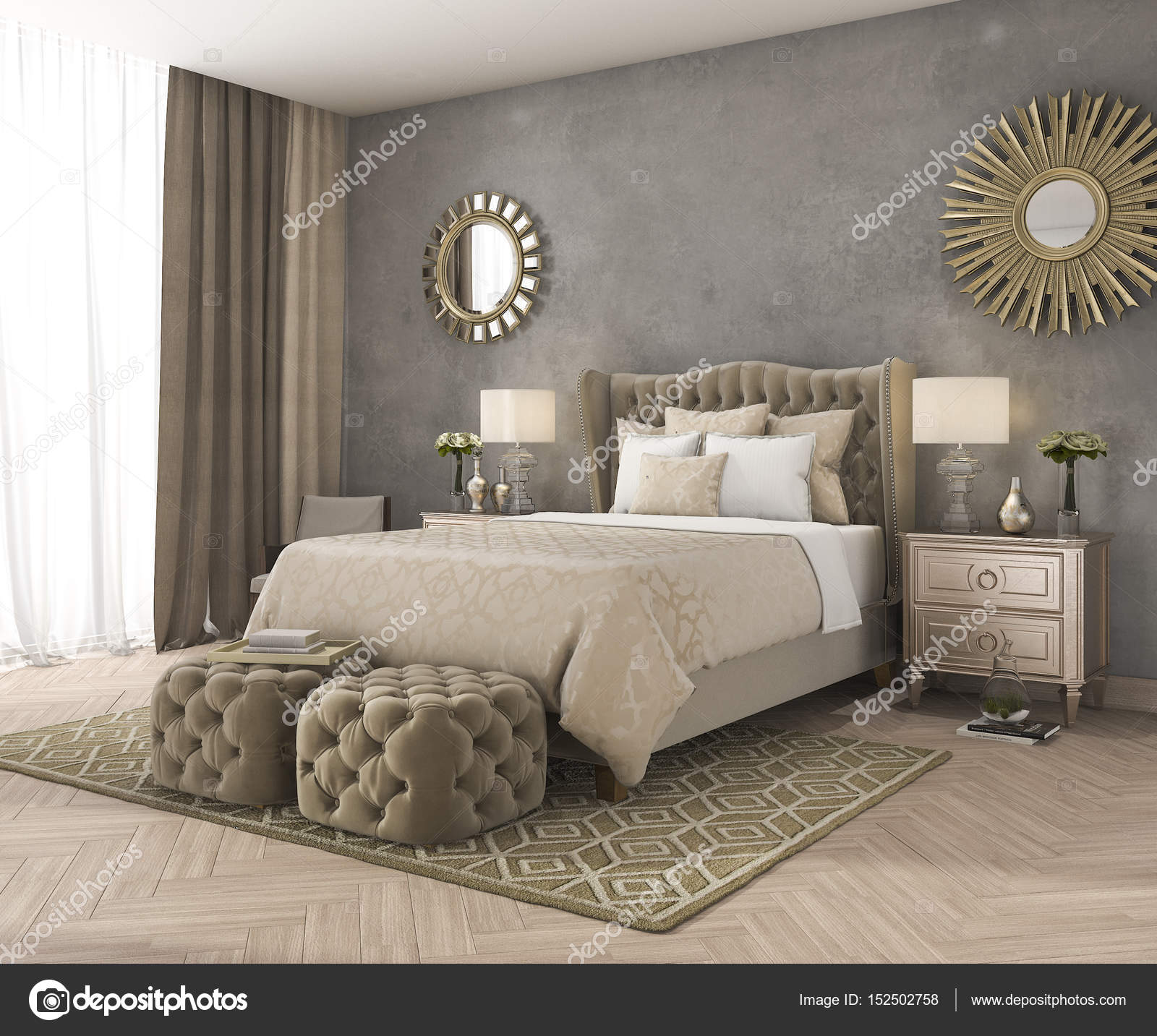 3D-weergave klassieke luxe slaapkamer met poef en spiegel en beton ...