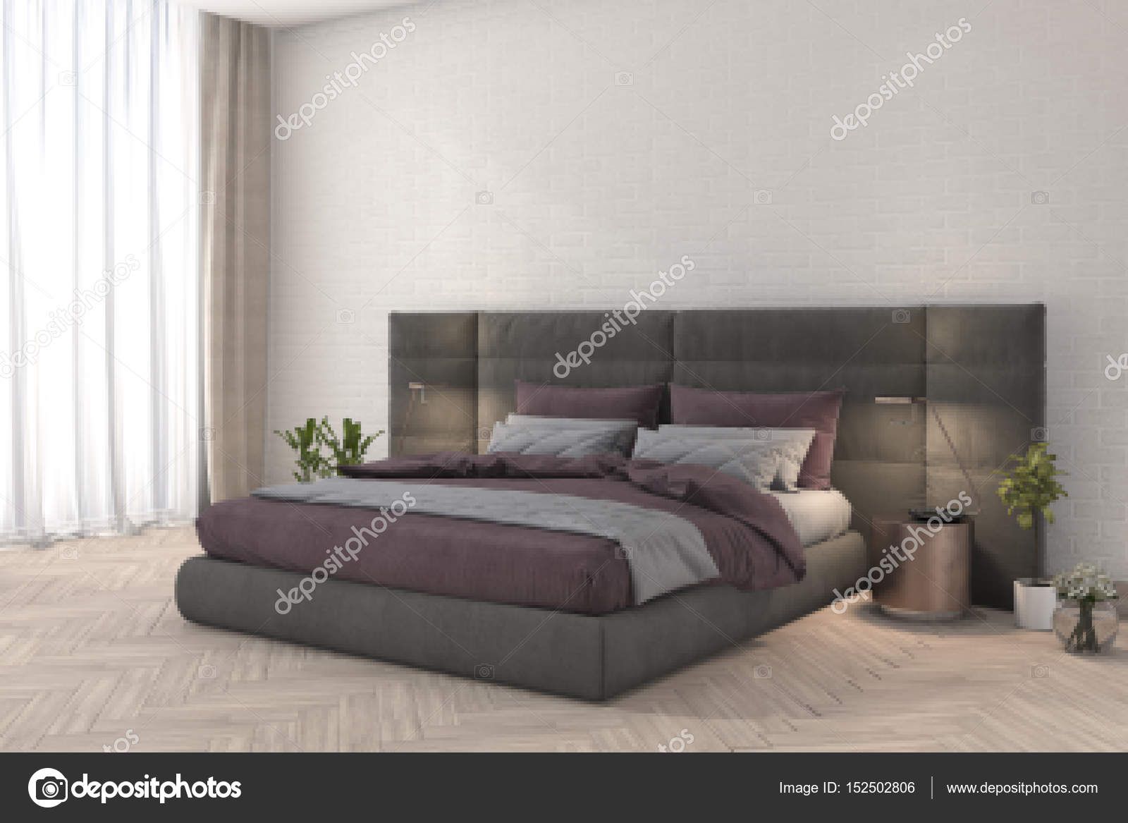 Roze Slaapkamer Lamp : D rendering roze stof slaapkamer met lamp en minimale decor
