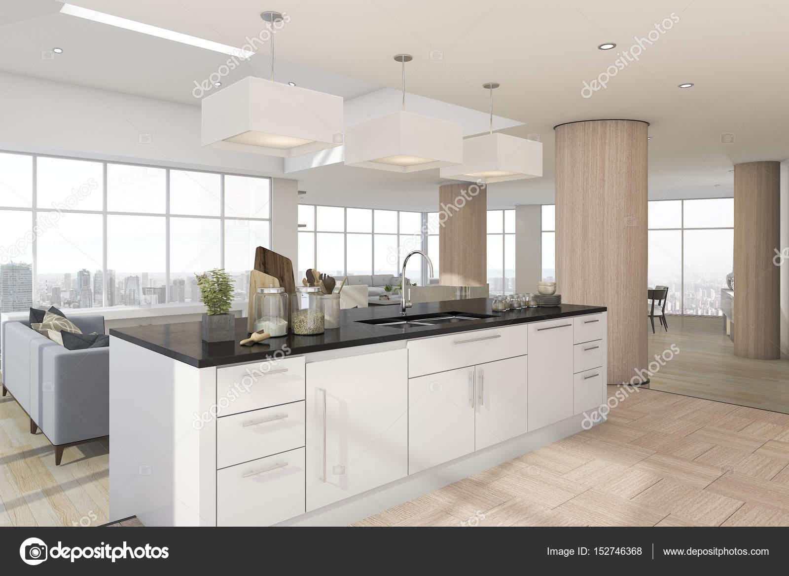 3D Rendering-Küche-Bar mit Zubehör in der Nähe von Wohnzimmer ...