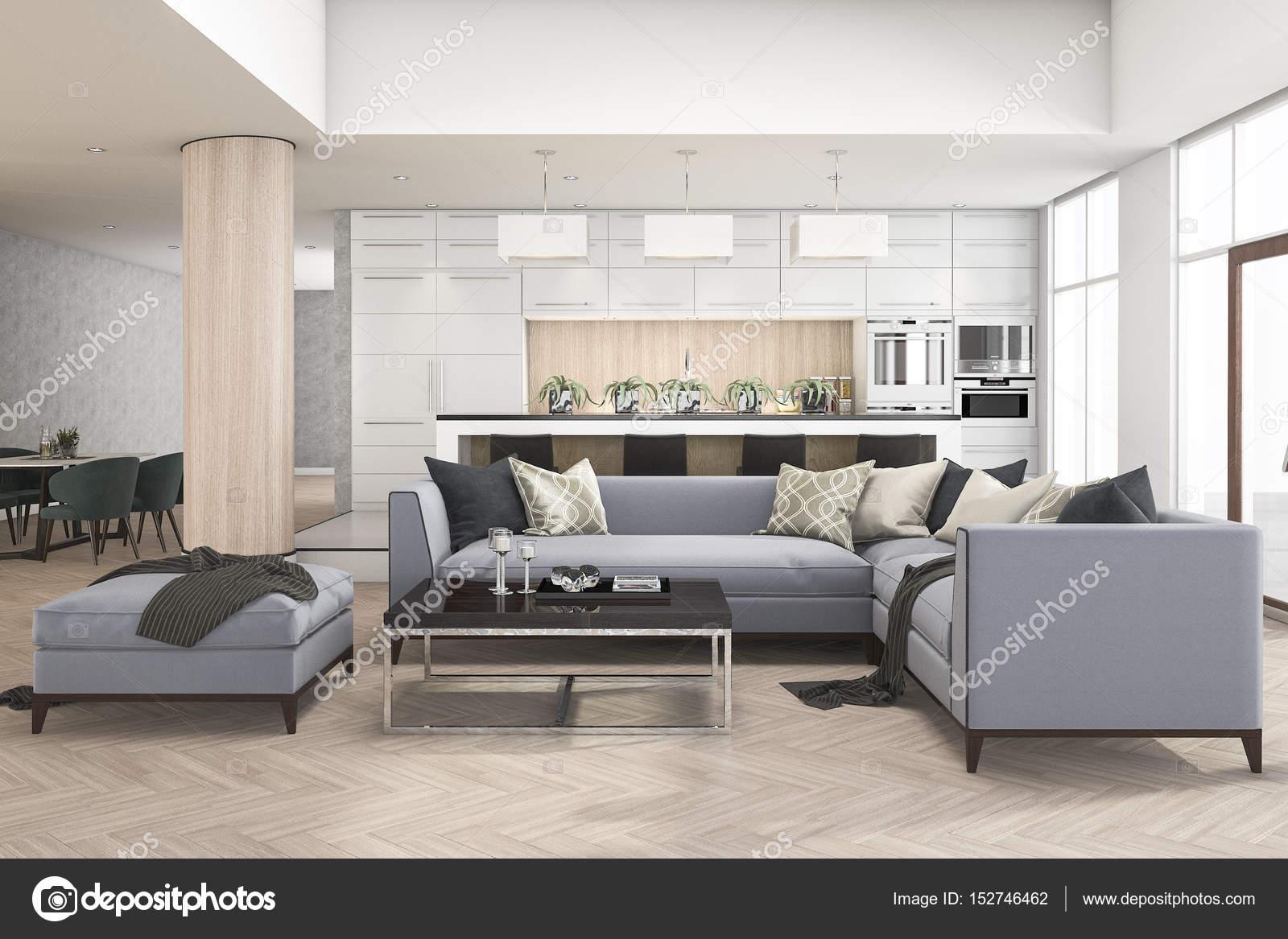 3D Rendering-Reihe von Sofa im Wohnzimmer in der Nähe von Küchenbar ...