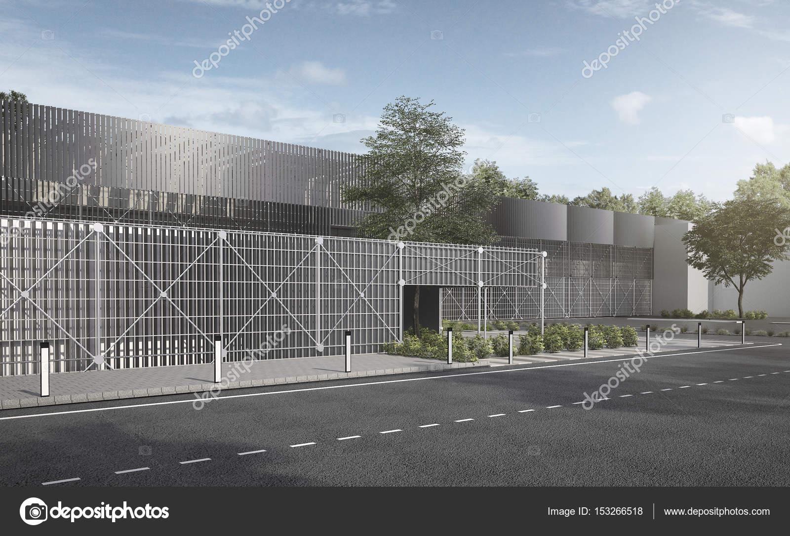 3D metal industrial moderno de representación y estructura de acero ...