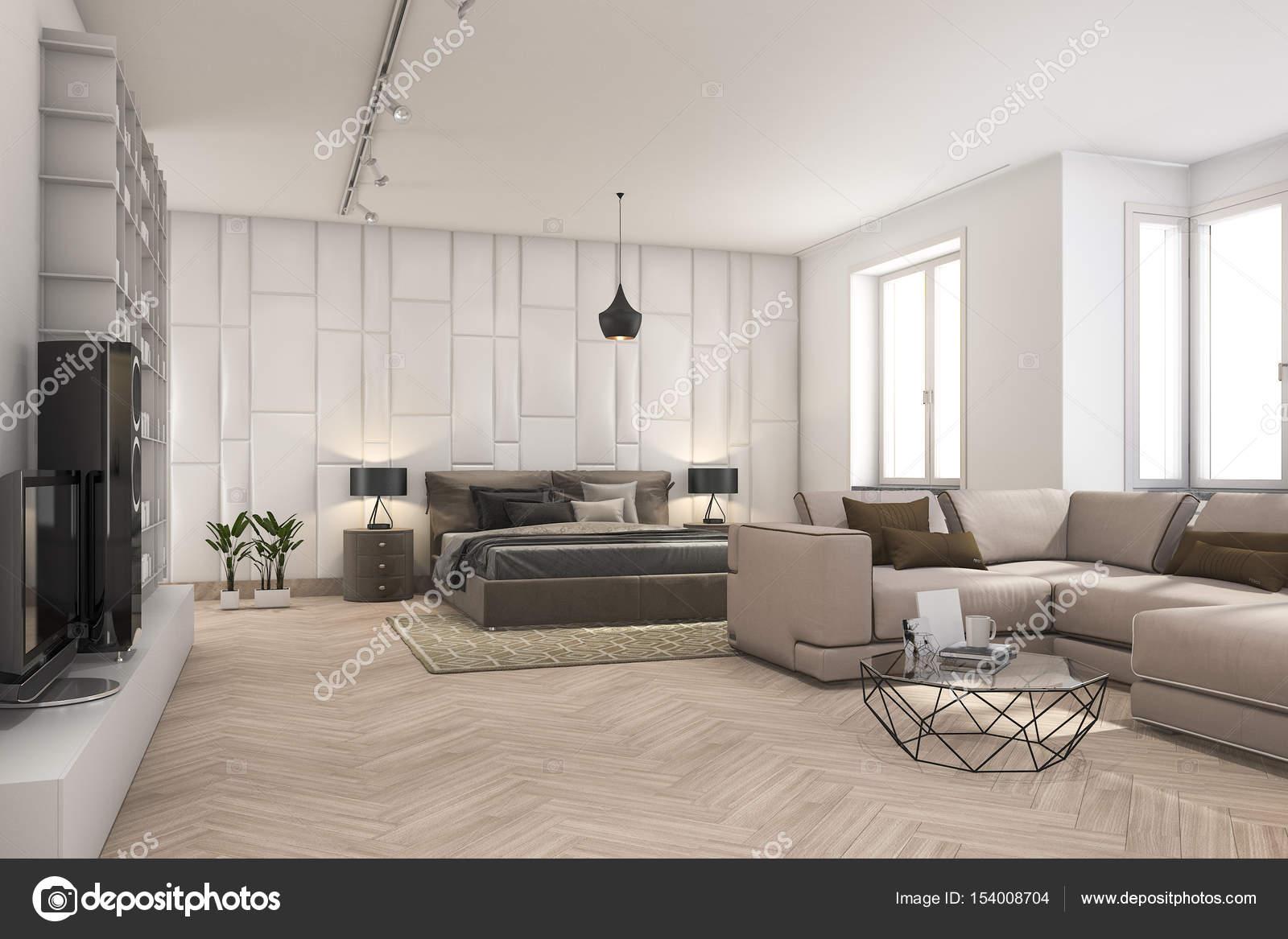 3D rendering Scandinavische woonkamer en slaapkamer — Stockfoto ...