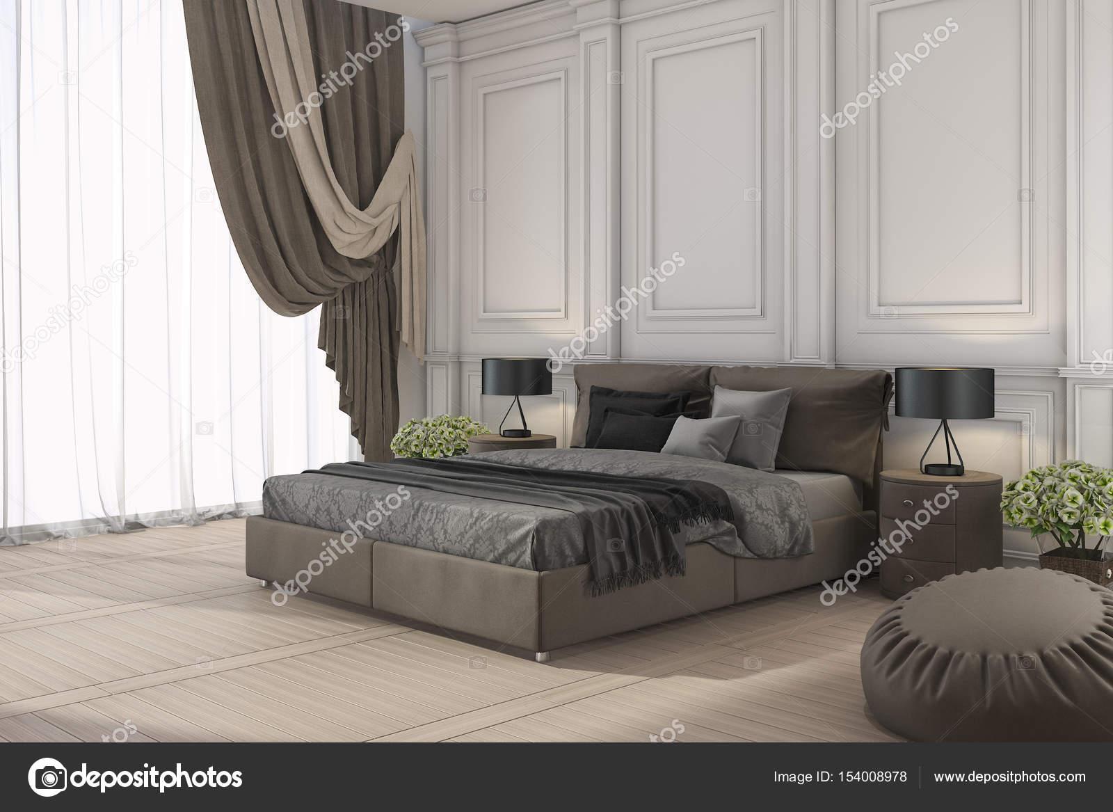 Letto classico 3D di rendering in camera da letto classica ...