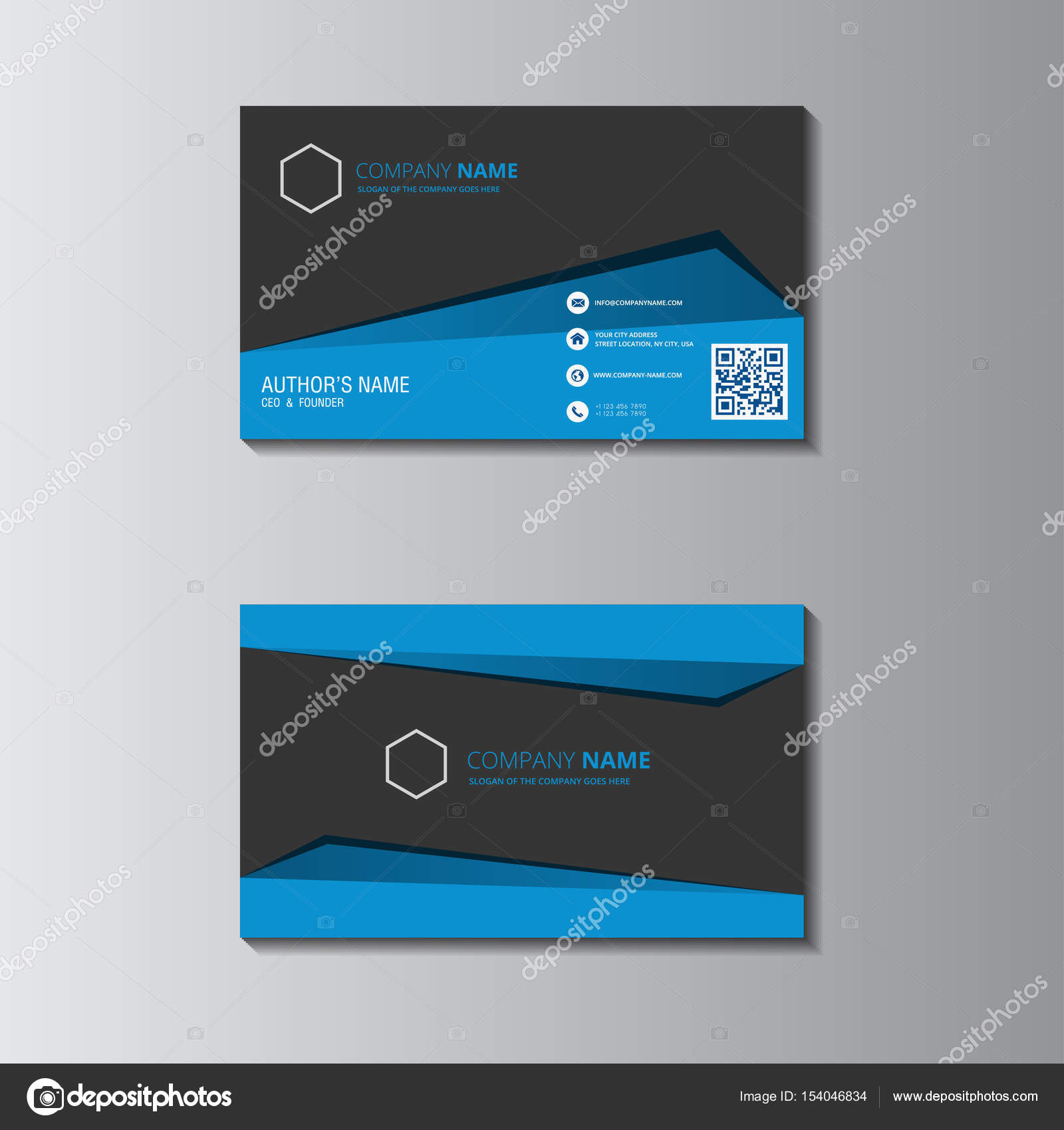 vector design formal blue modern business card — Stock Vector ...