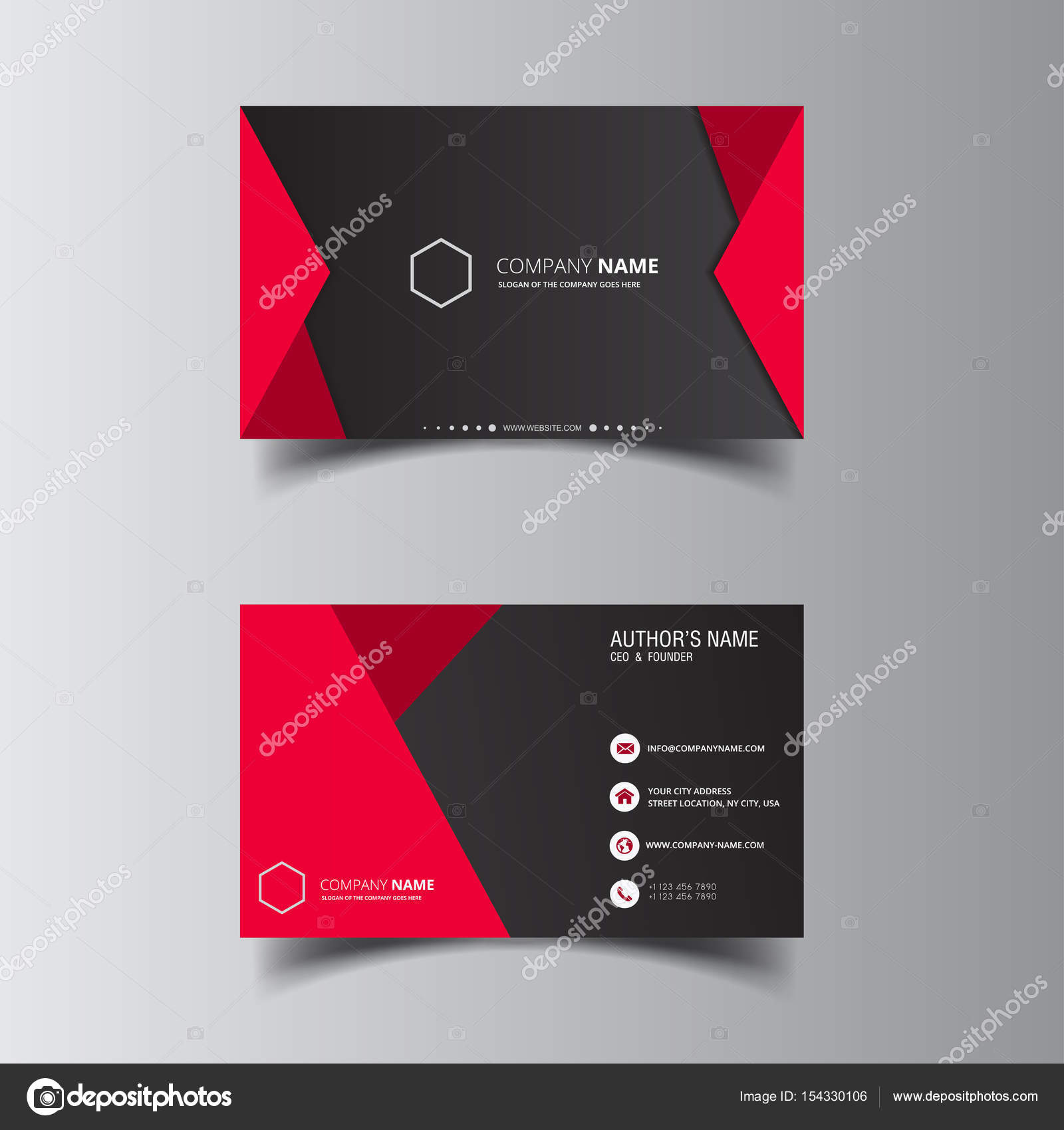 Vector design formal red modern business card — Stock Vector ...