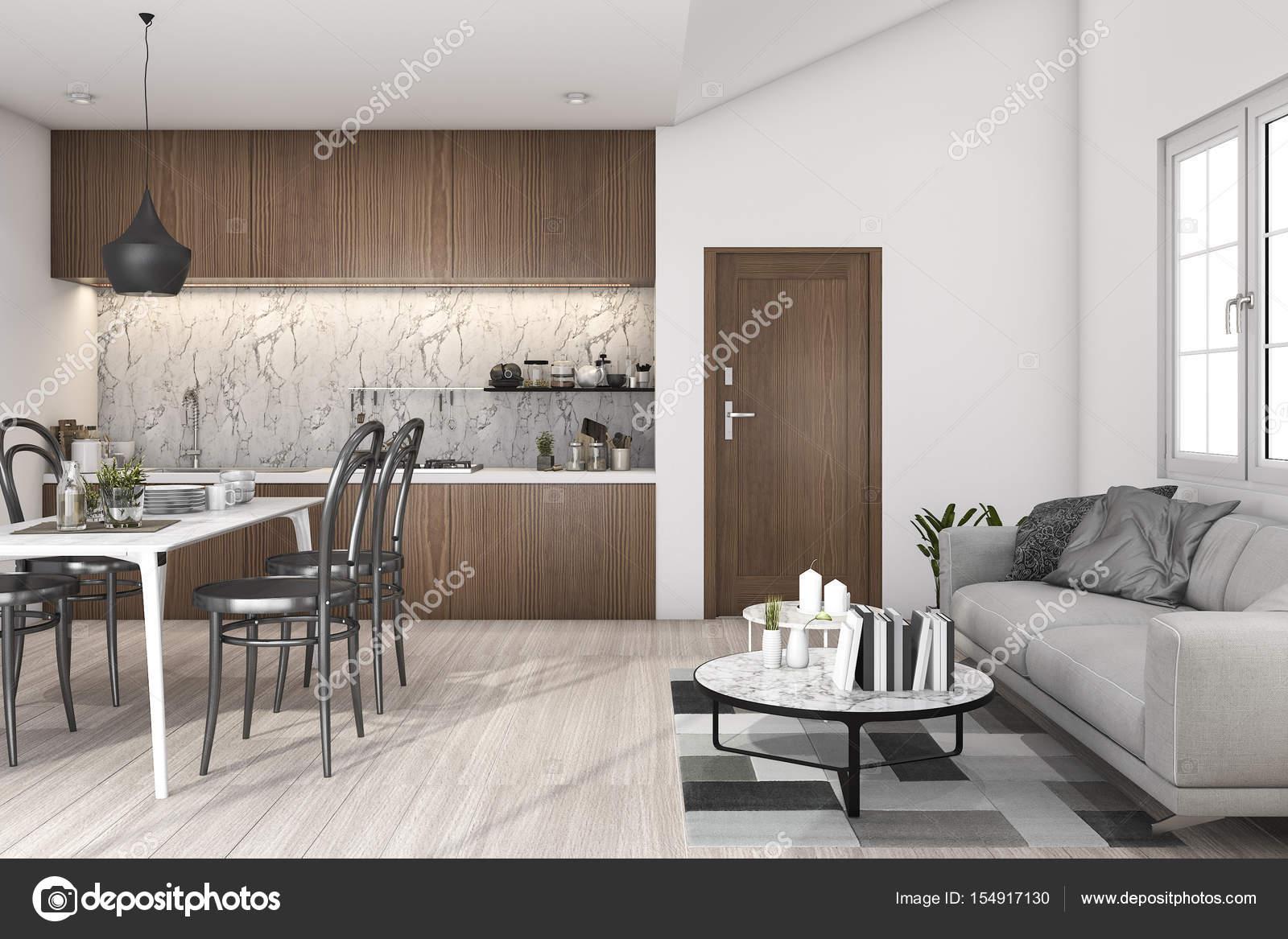 3D rendering loft soggiorno con cucina e tavolo da pranzo ...