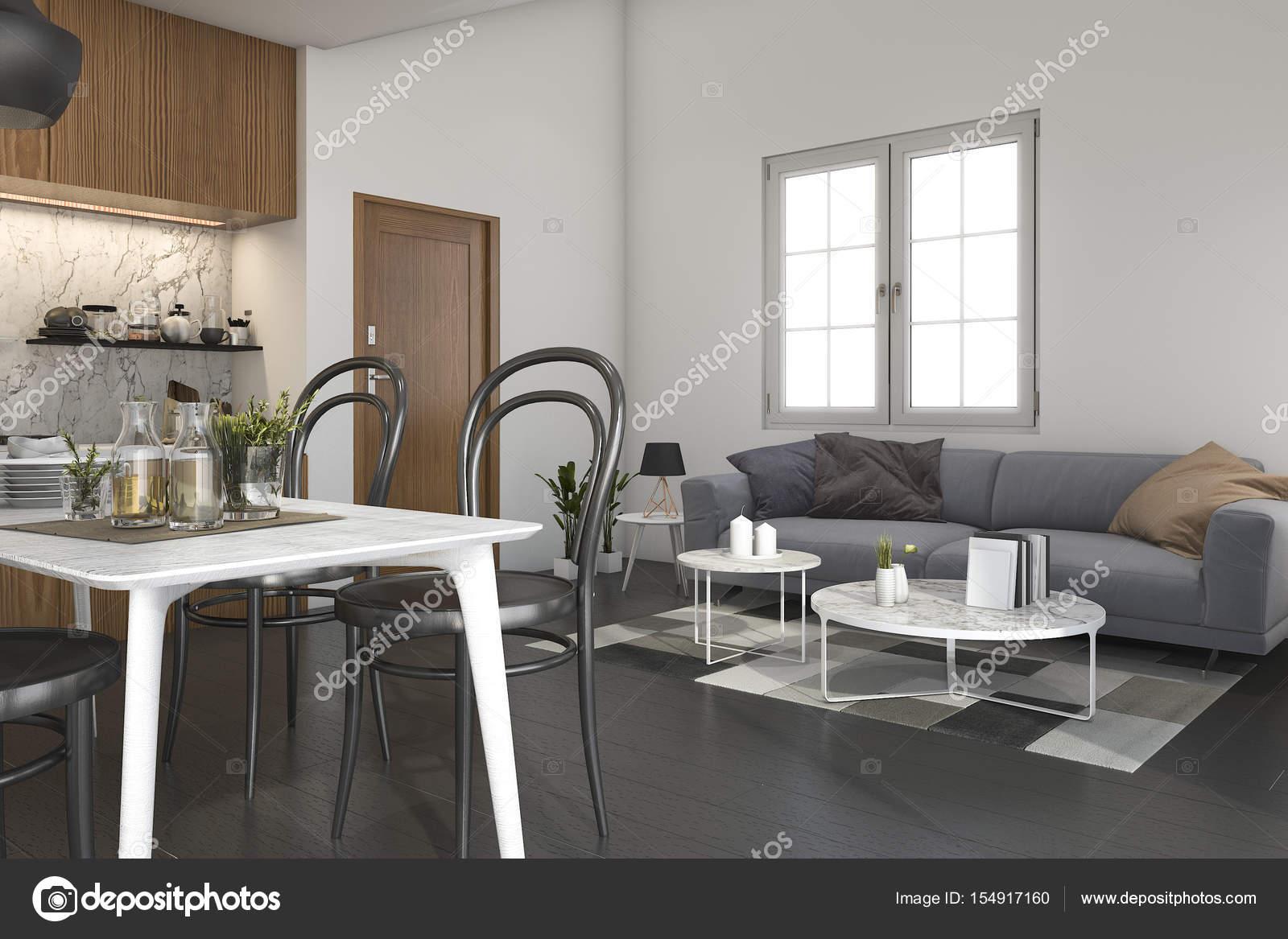 3D rendering loft soggiorno con cucina e tavolo da pranzo — Foto ...