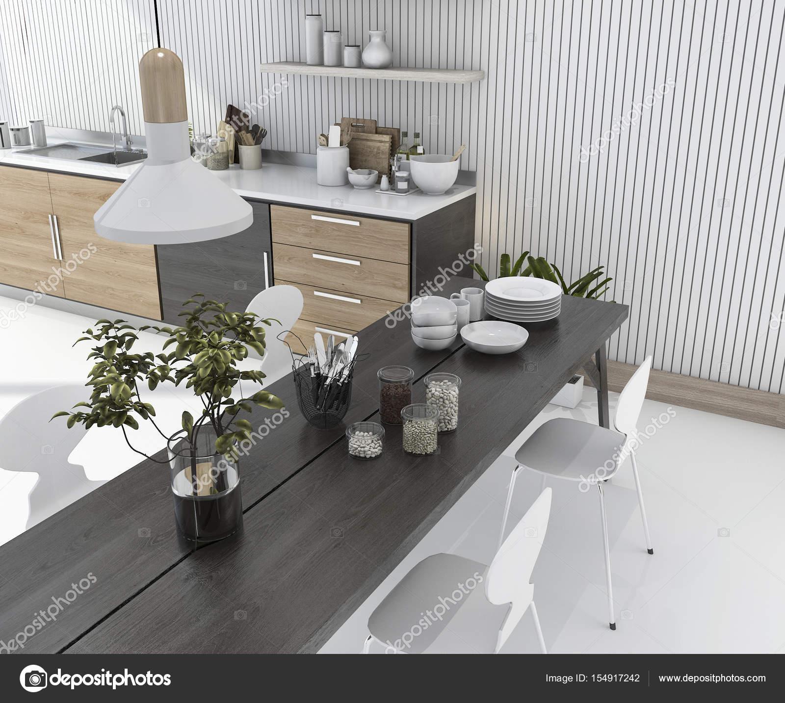 3D Rendering Holz Küchenbar mit Esstisch und Stuhl — Stockfoto ...