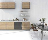 3D rendering fa konyha bár, étkező asztal és szék