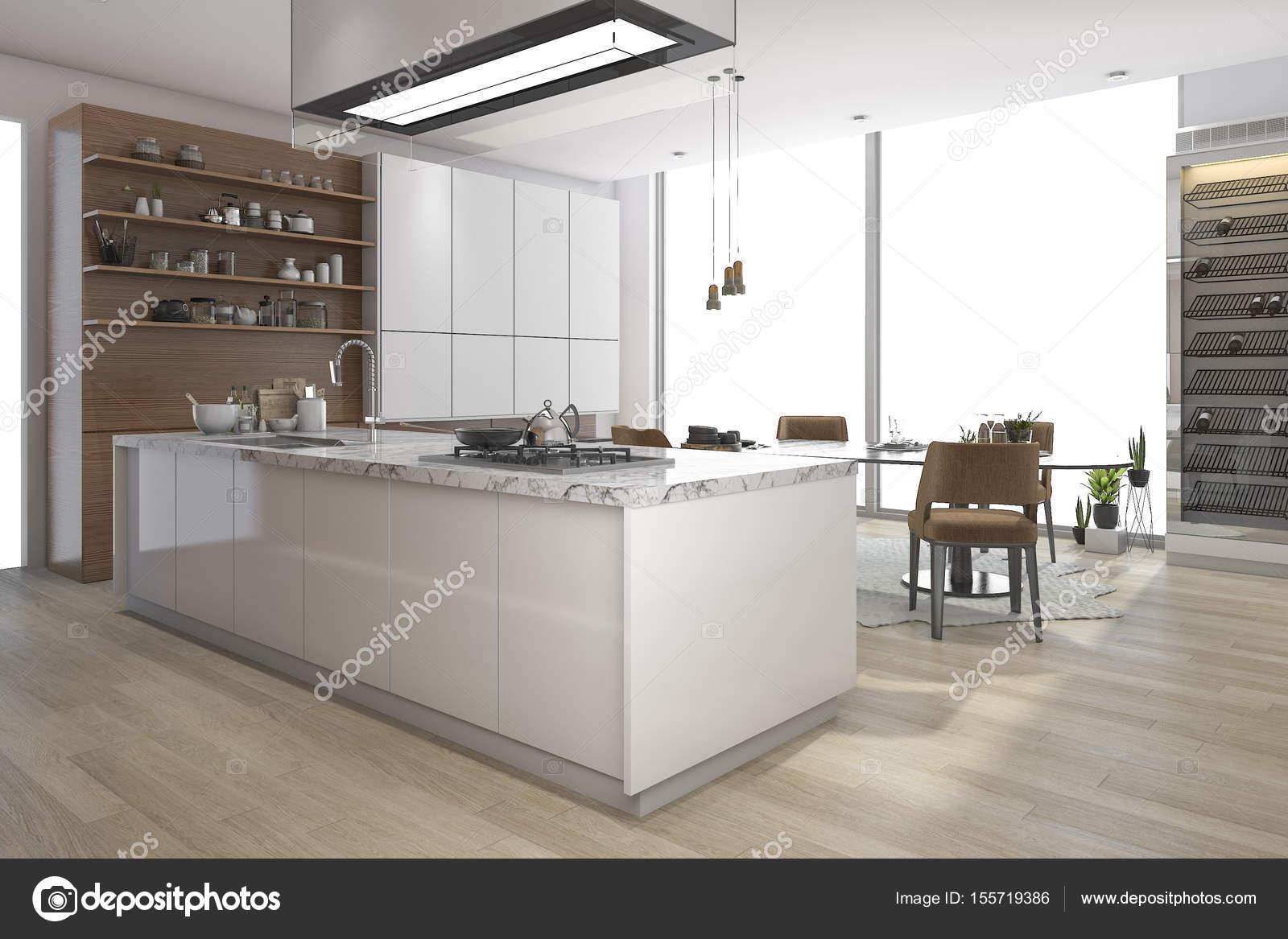 juego de comedor de representación 3D en madera cocina y living ...