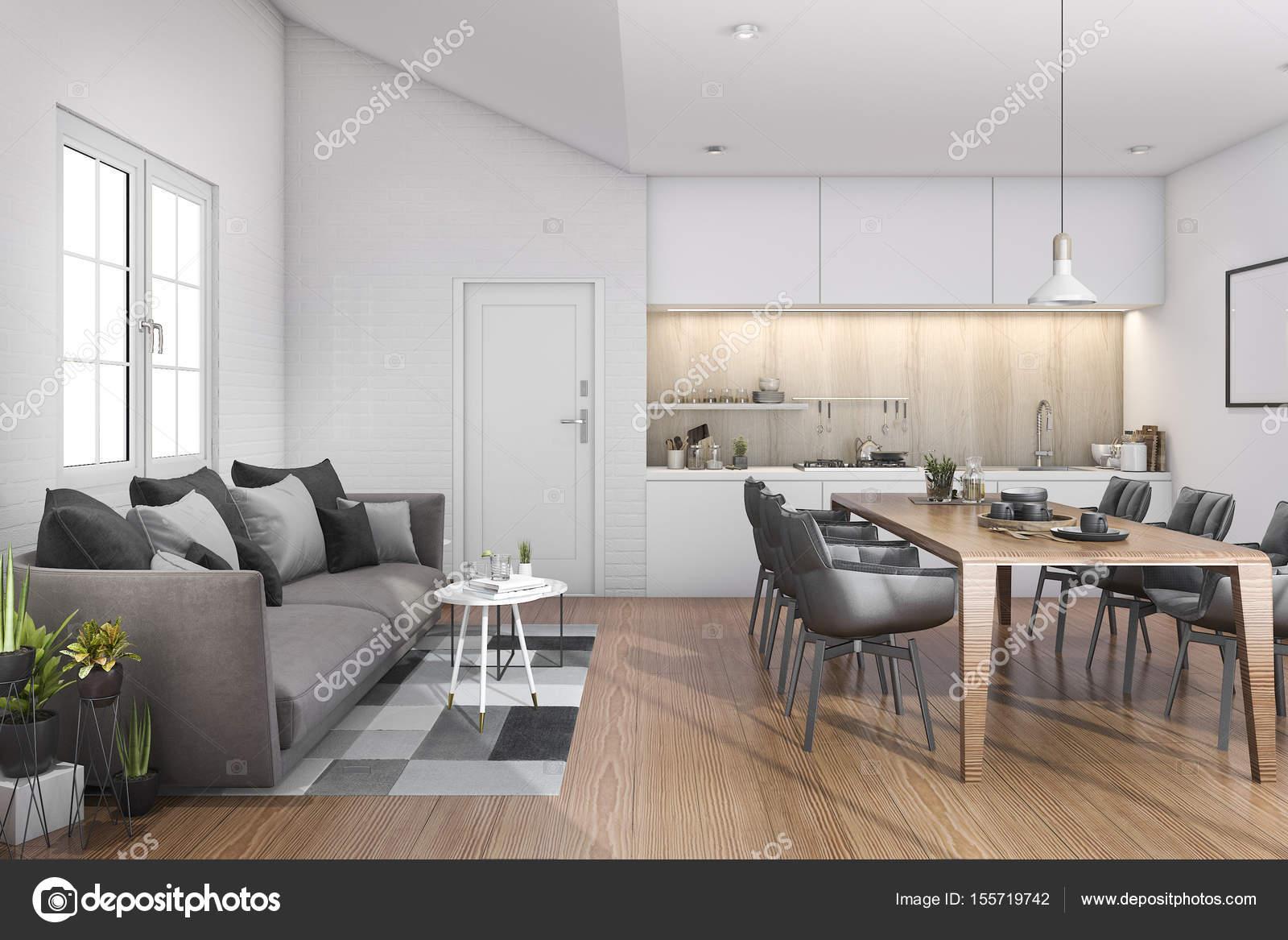 3D Rendering Holz loft Küche mit Bar und Sofa in der Nähe der Tür ...
