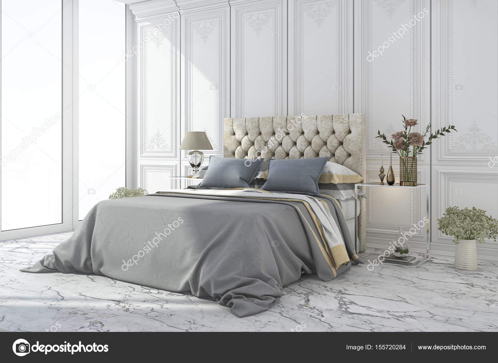 letto di lusso blu 3D rendering in camera da letto classica bianca ...
