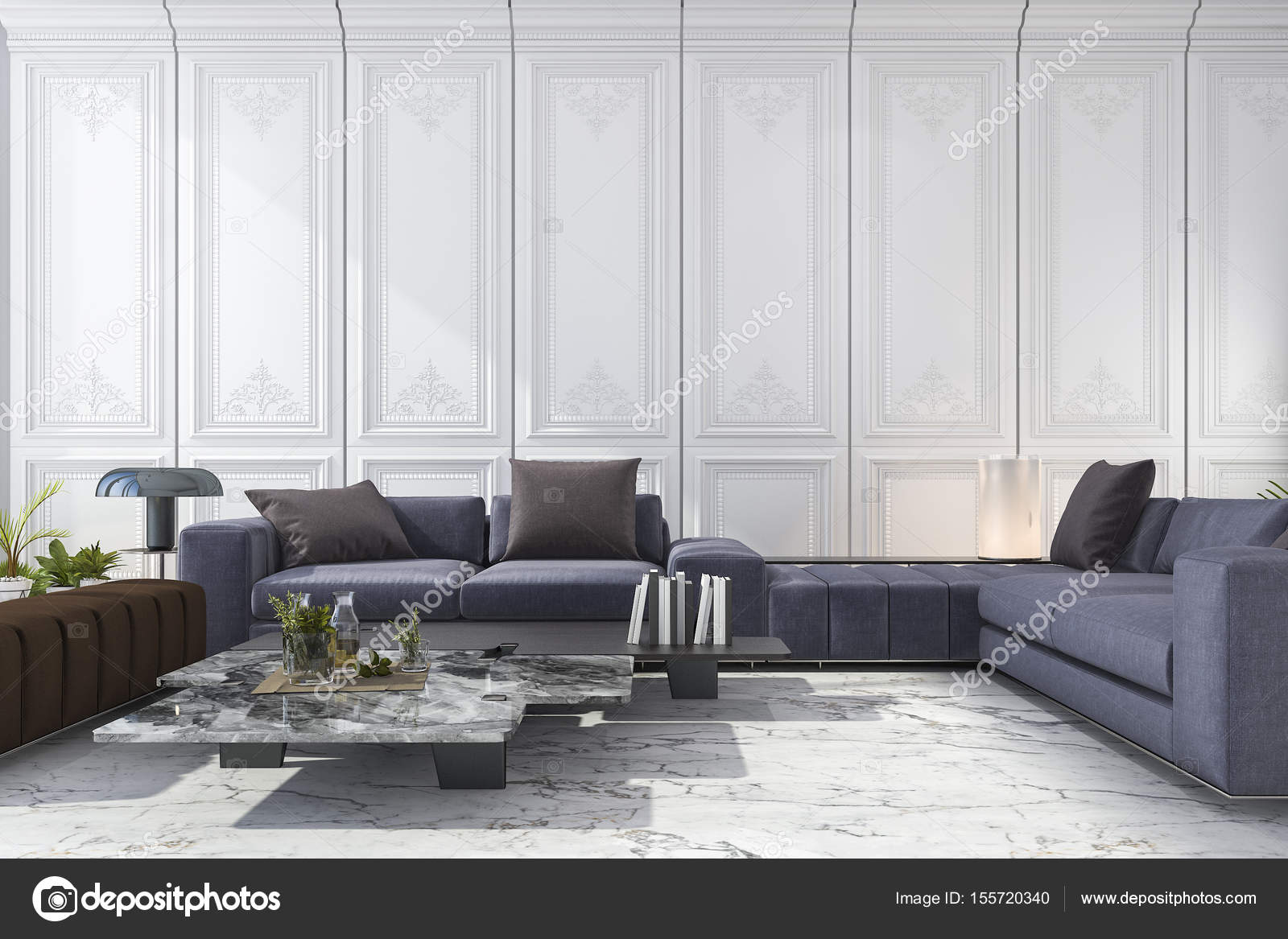 3d rendering blue and brown sofa set in classic luxury white room ...