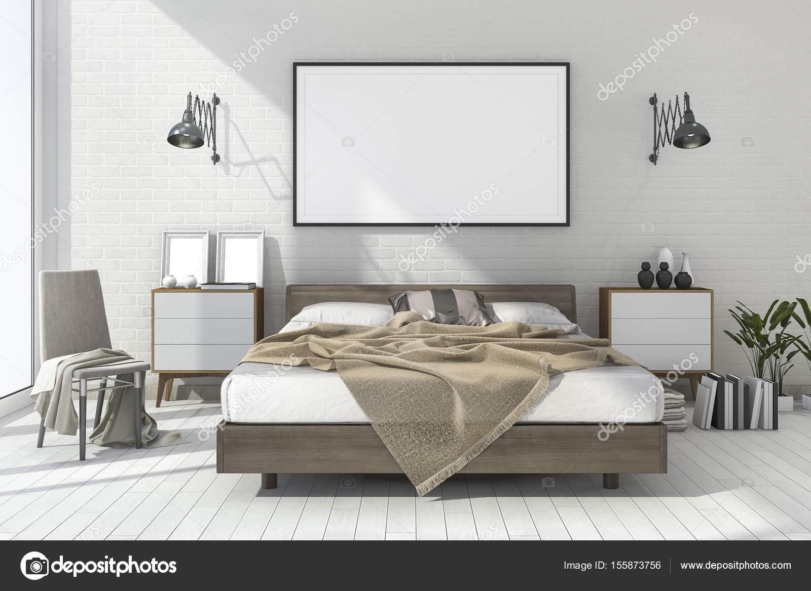 3D Rendering Vintage minimal Mock up Schlafzimmer im skandinavischen ...