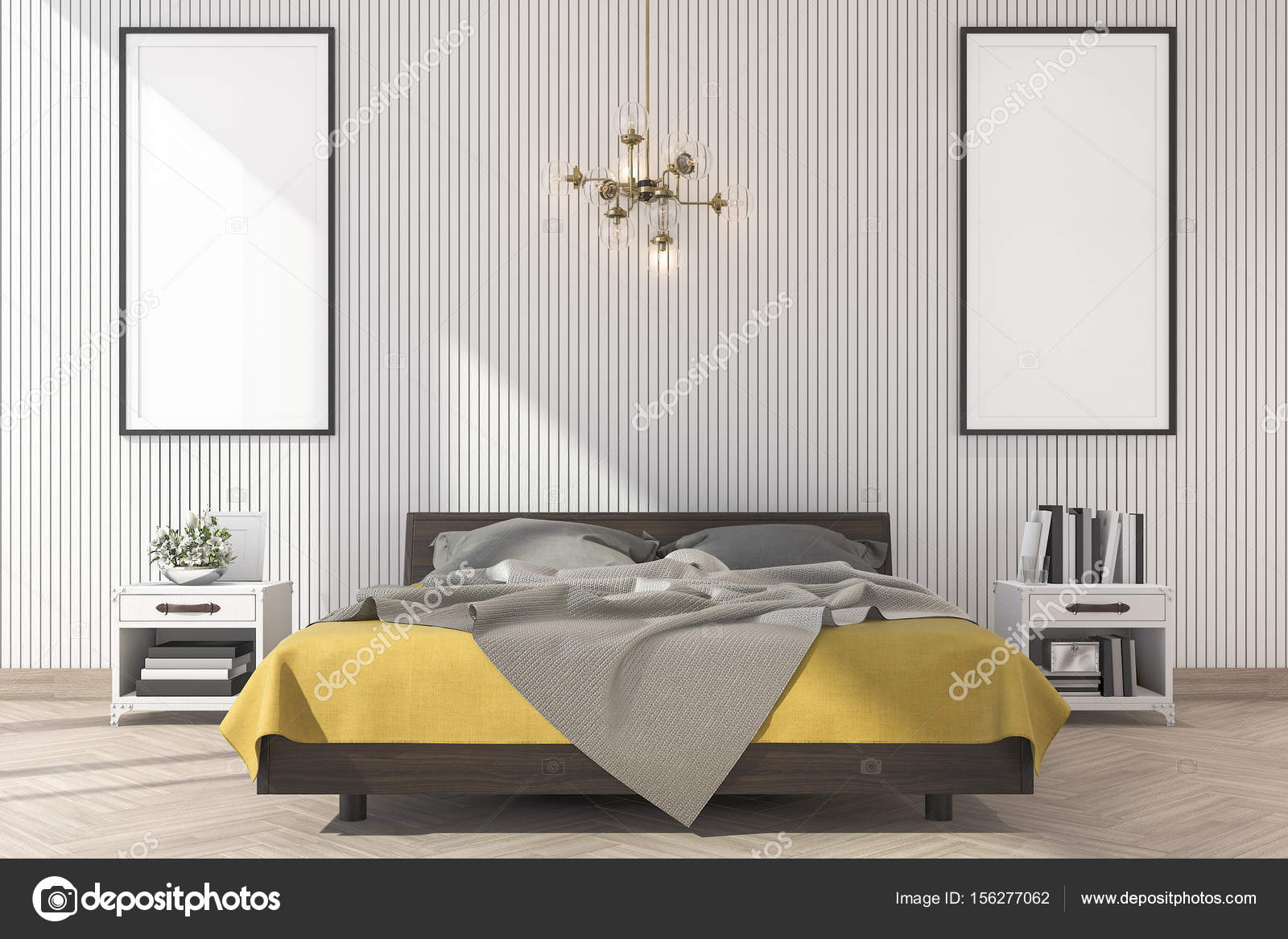 3d rendering minimal yellow bed with mock up frame in bedroom ...