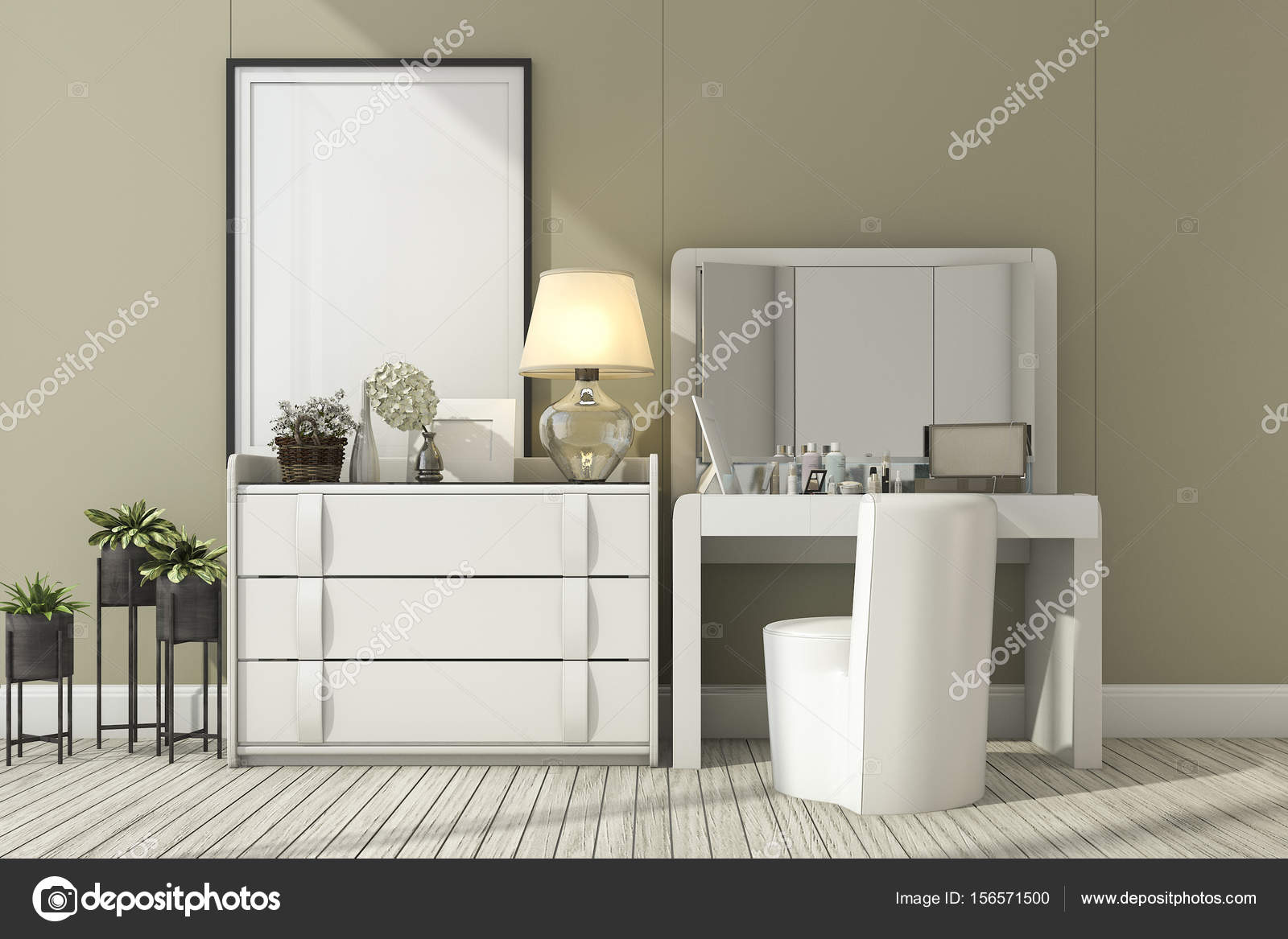 Design Ladekast Slaapkamer.3d Rendering Classic White Room With Make Up Table Stock