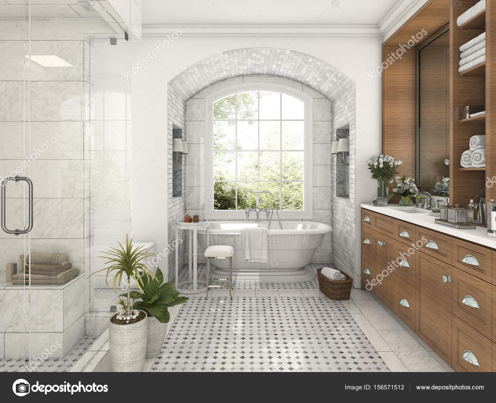 D rendering legno e piastrelle di design bagno vicino alla