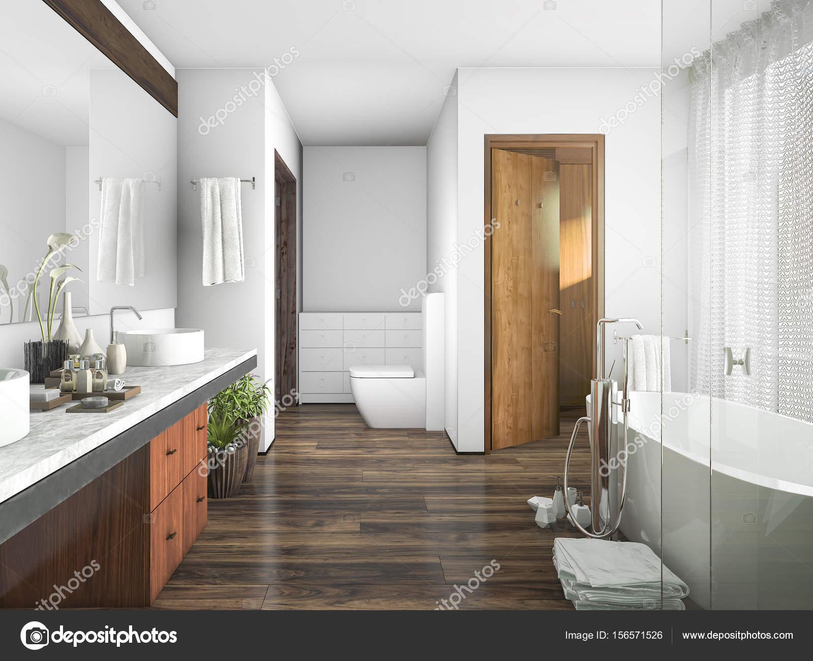 3D Rendering Holz und Fliesen design Badezimmer in der Nähe von ...