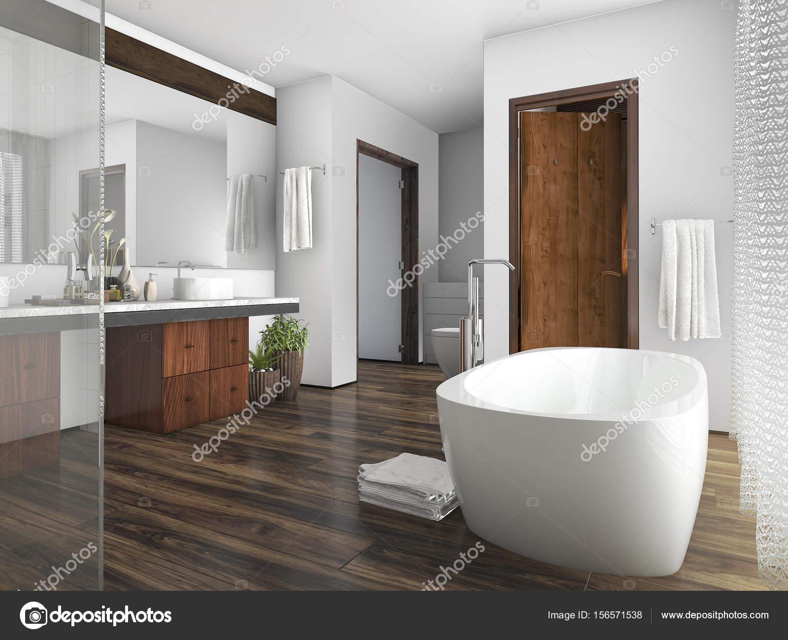 D rendering hout en tegel design badkamer in de buurt van venster